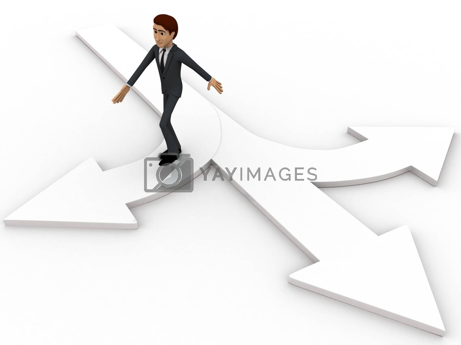 Royalty free image of 3d man choose from three different path and on arrow concept by touchmenithin@gmail.com
