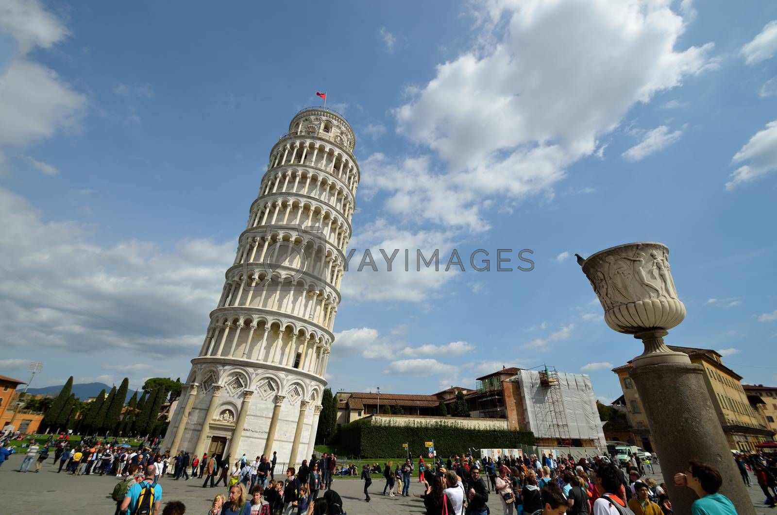 Leaning Tower of Pisa wide angle view