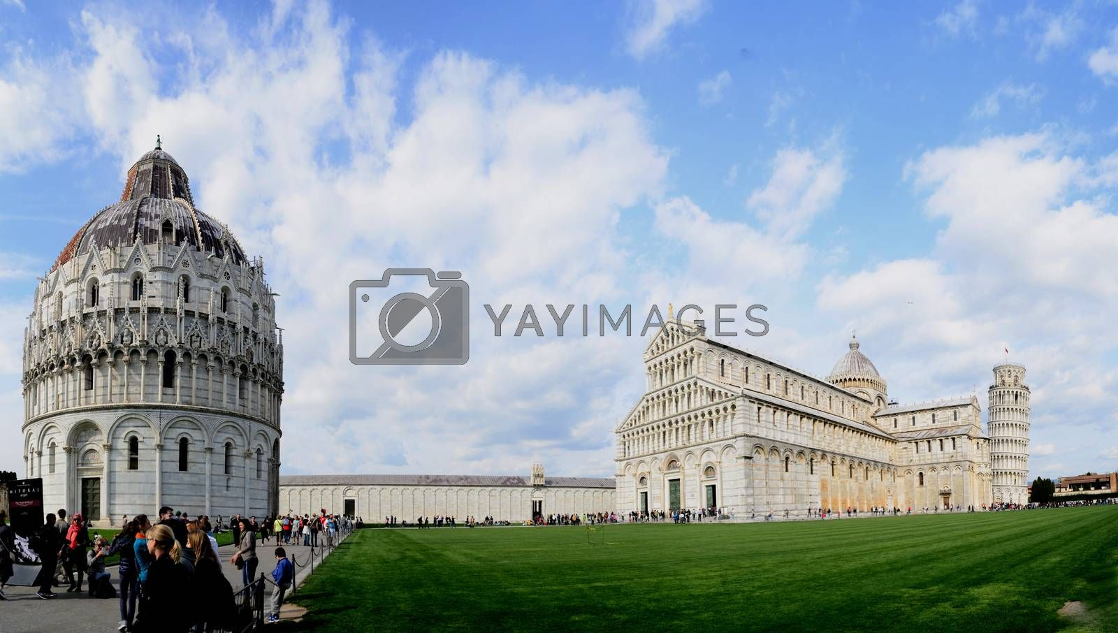 beautiful building with leaning tower in Pisa panorama view