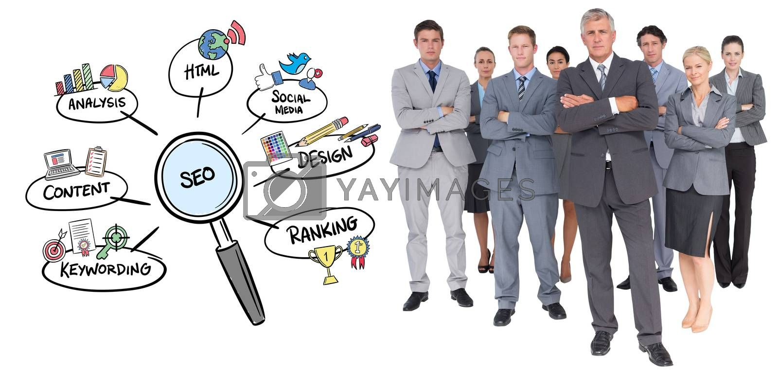 Royalty free image of Composite image of business team standing arms crossed  by Wavebreakmedia