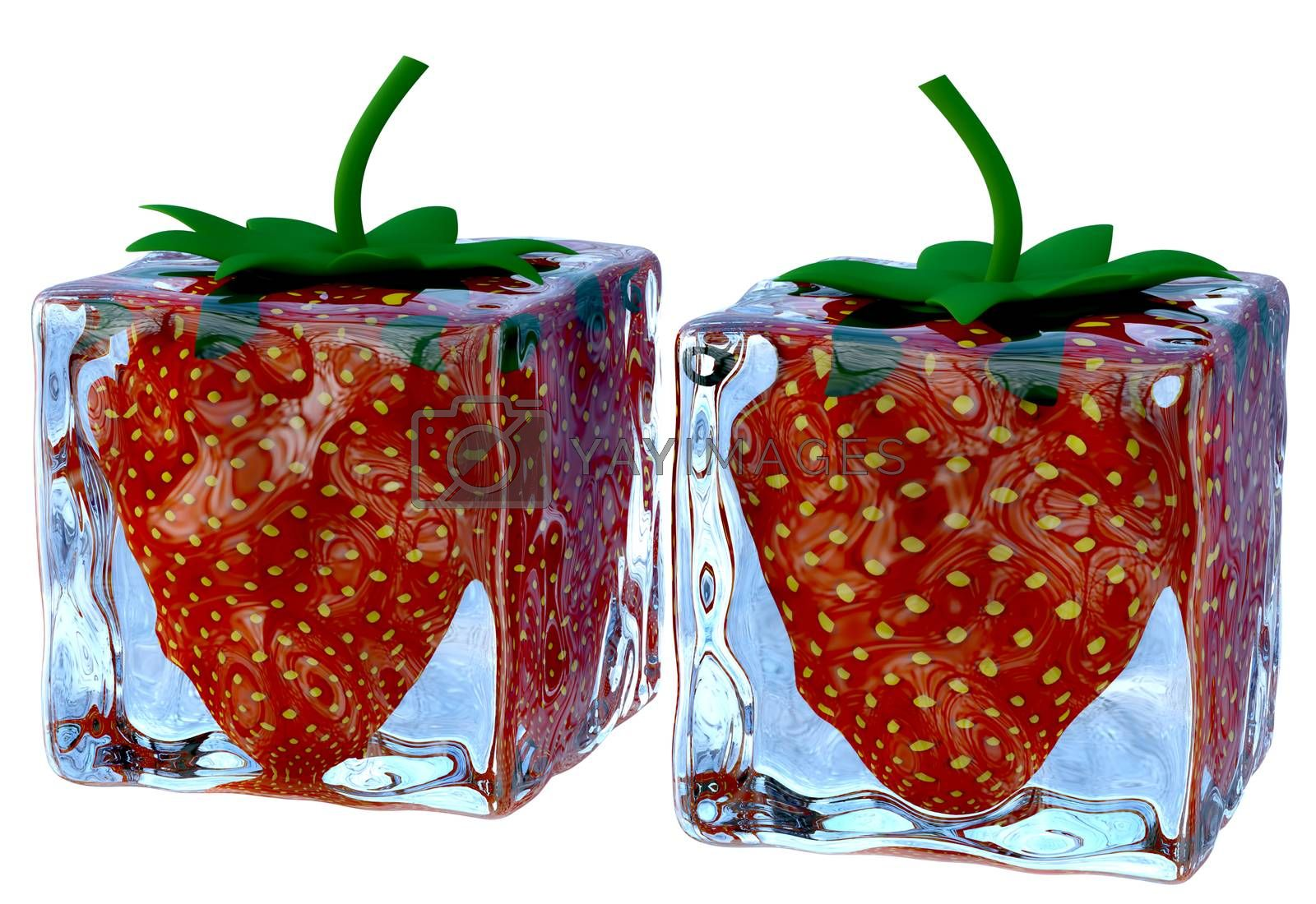two melting ice cubes with sweet ripe strawberries by merzavka
