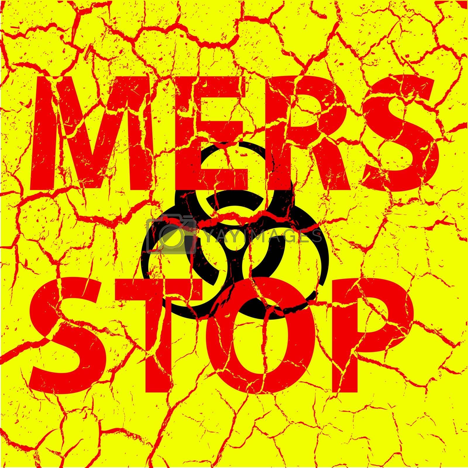Background cracks Stop Mers Corona Virus sign.  Vector Illustration.