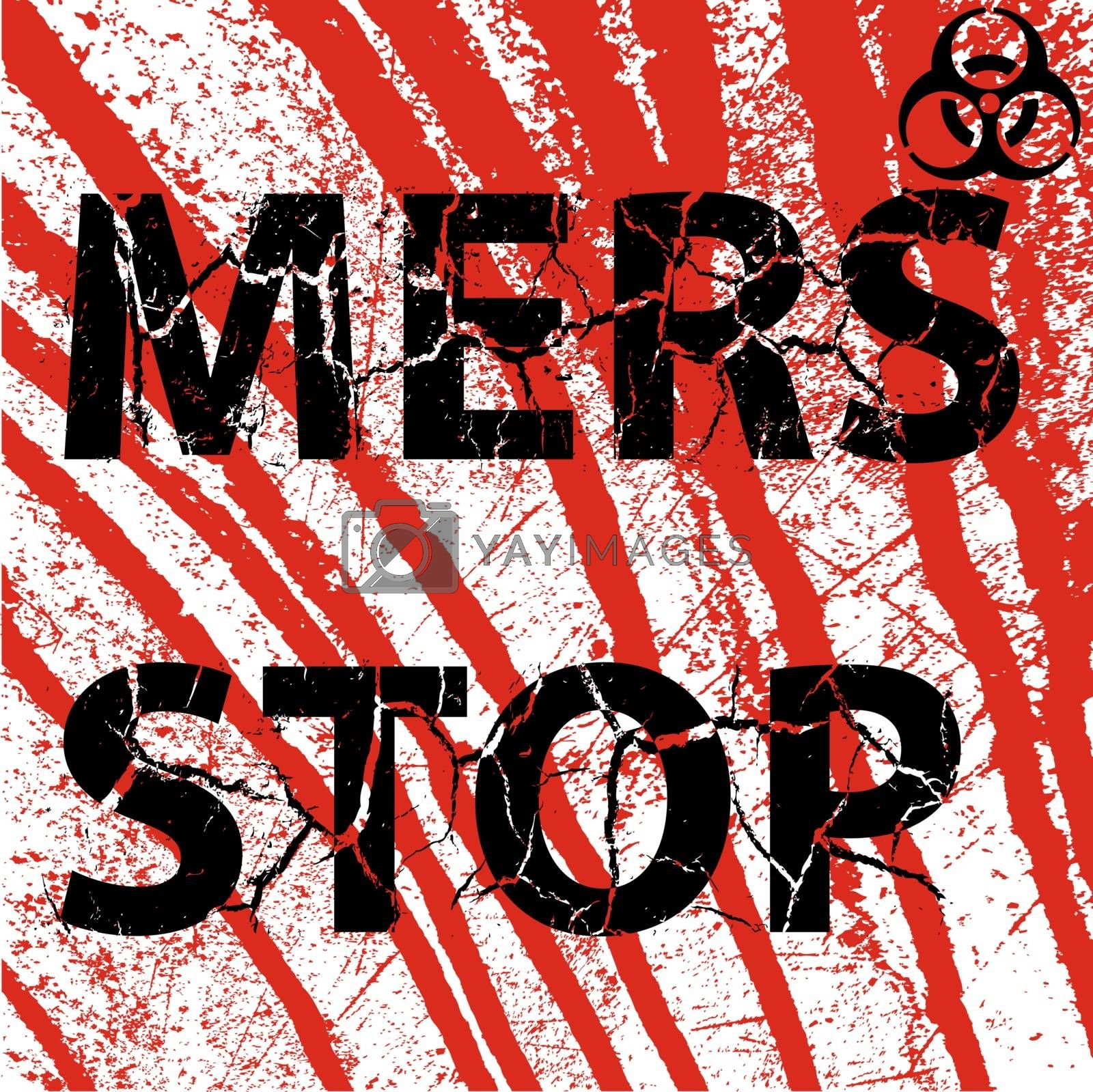 Background bloody wall Stop Mers Corona Virus sign.  Vector Illustration.