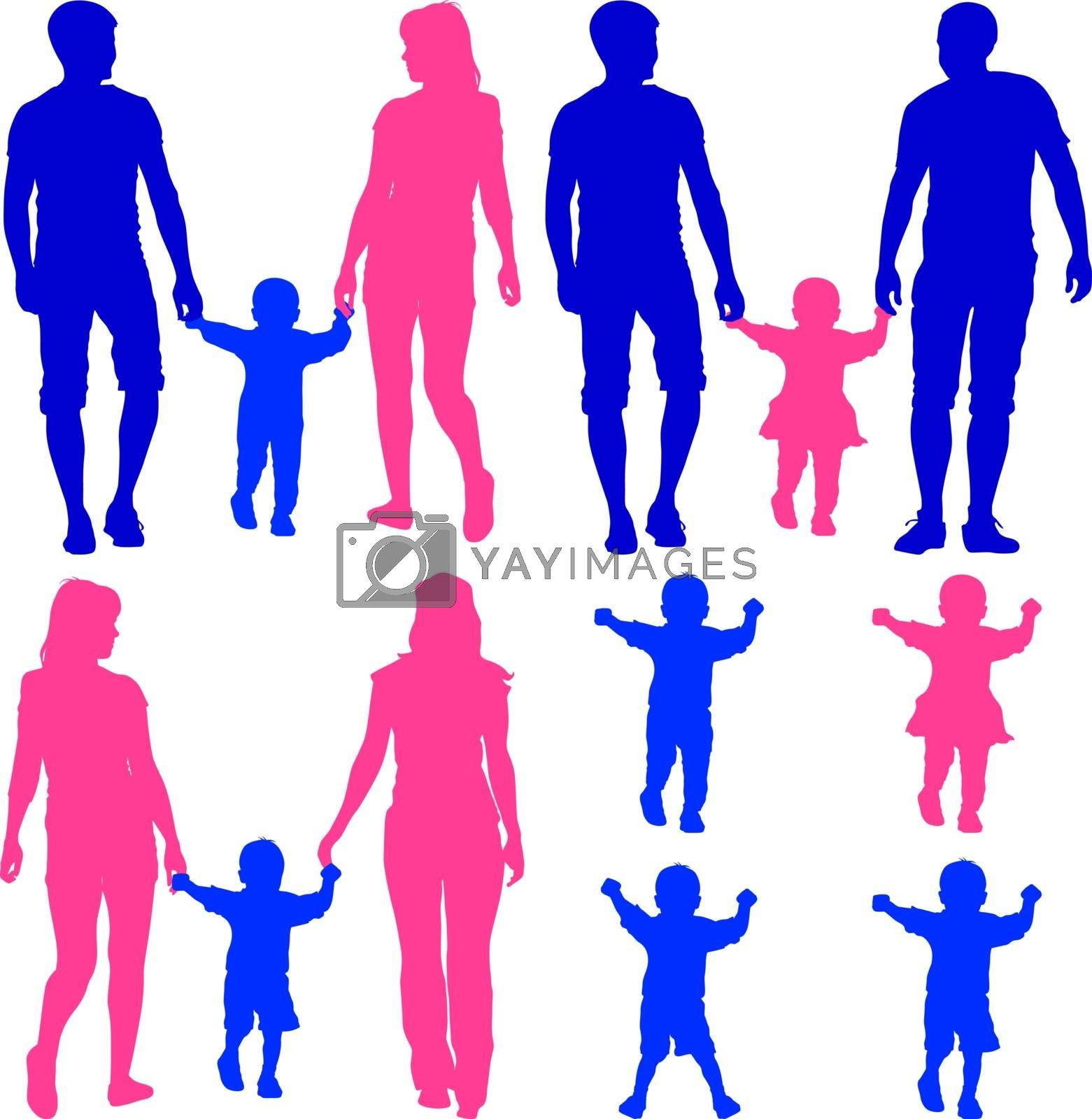 Blue, pink silhouettes Gay, lesbian couples and family with children on white background. Vector illustration.