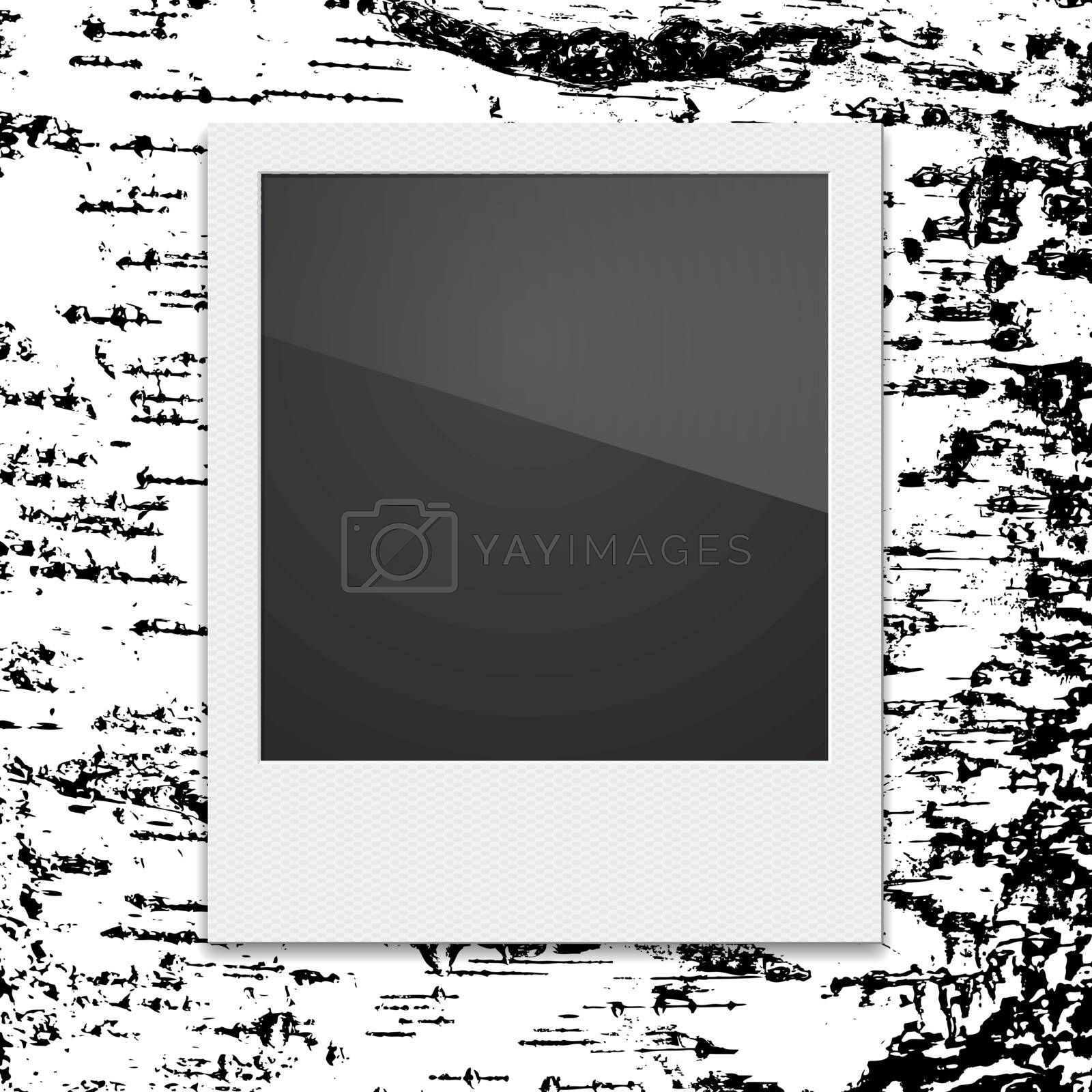 Retro Polaroid photo frame on the background of birch. Vector illustration