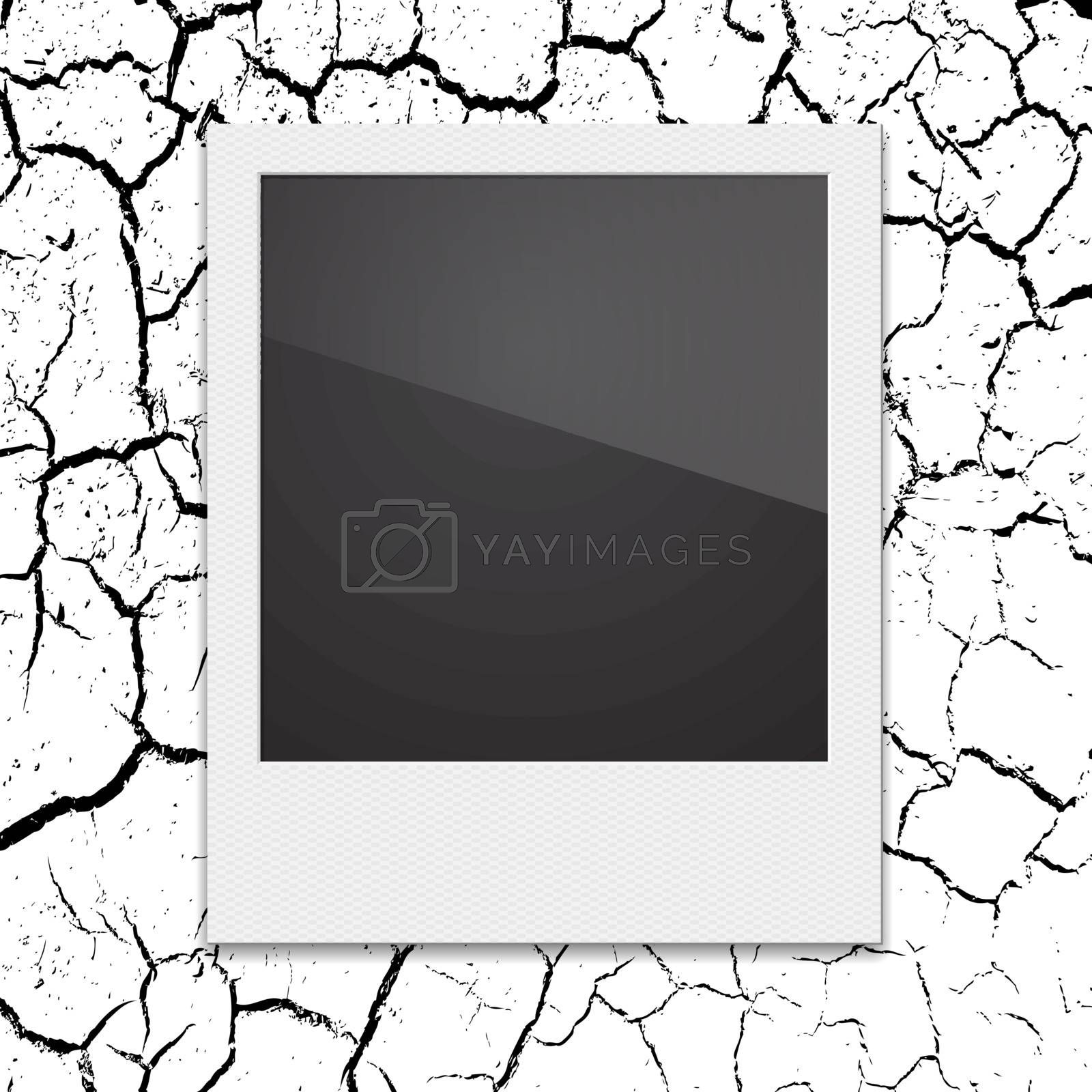 Retro Polaroid photo frame on the background cracks desert. Vect by aarrows