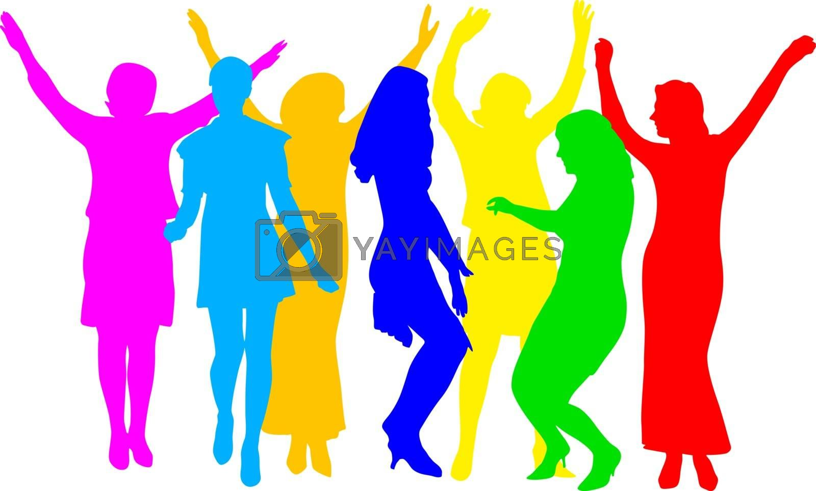 silhouettes of beautiful womans on white background. Vector illustration.