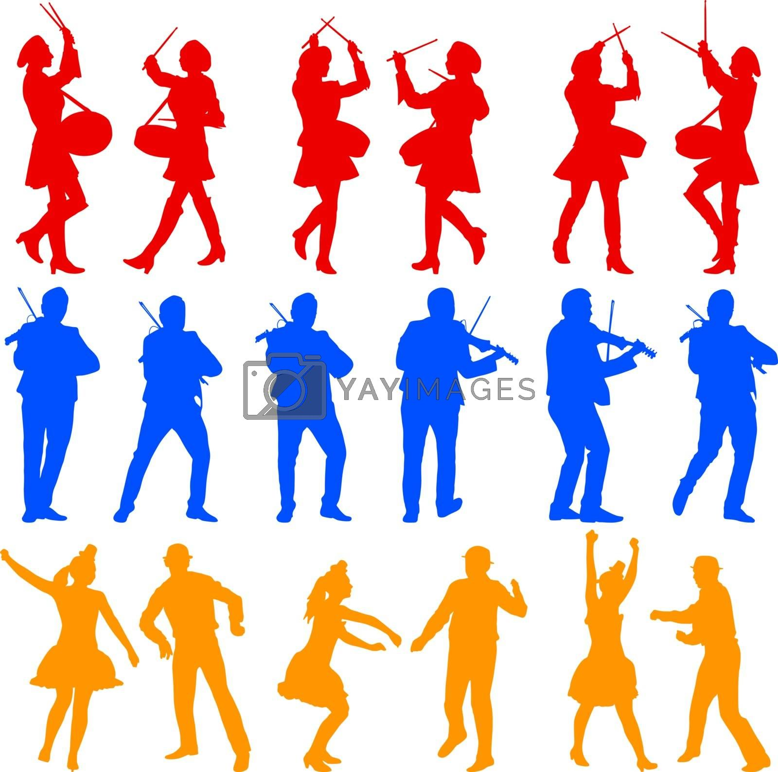 Color silhouettes of beautiful mans and womans. Drummer, violini by aarrows