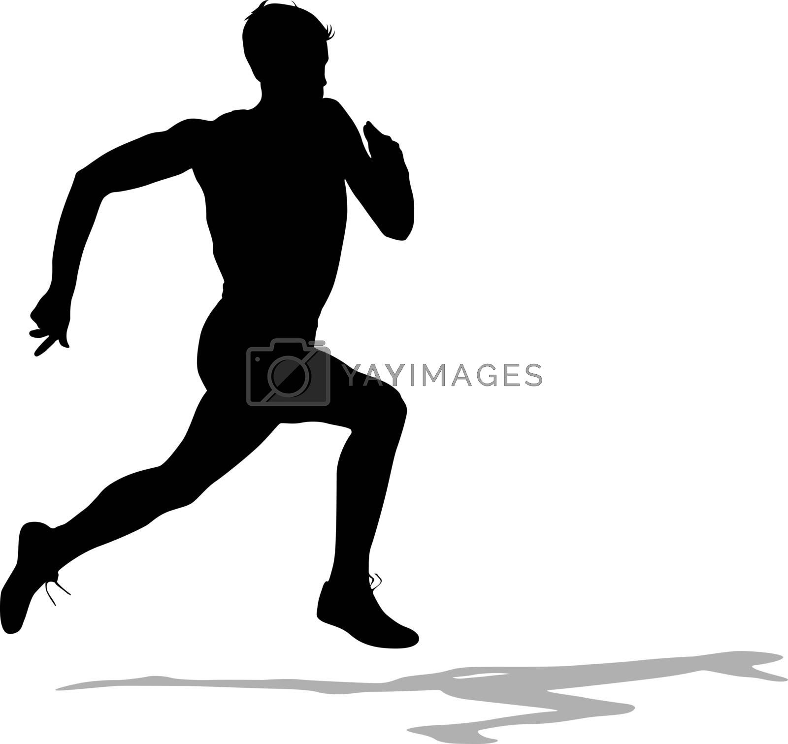 Silhouettes Runners on sprint, men. vector illustration. by aarrows