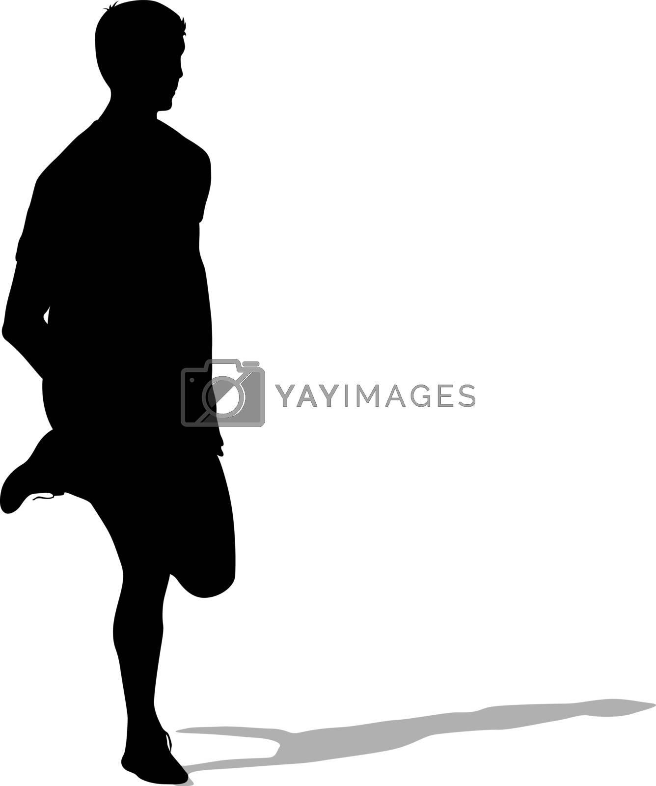 Silhouettes Runners on sprint, men. vector illustration.