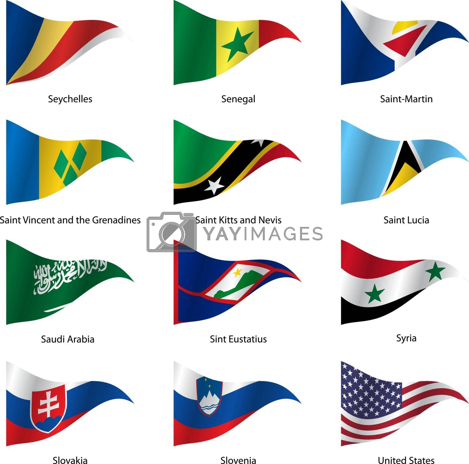 Set  Flags of world sovereign states triangular shaped. Vector illustration.