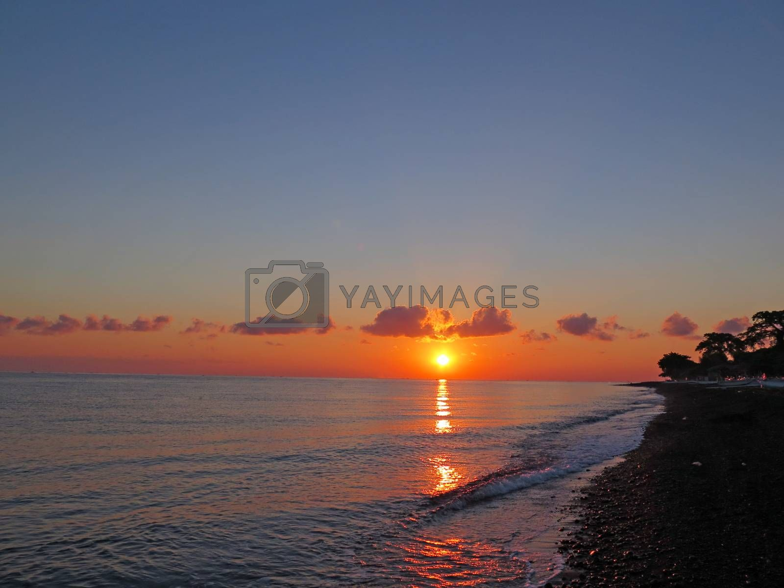 sunset in ocean Bali