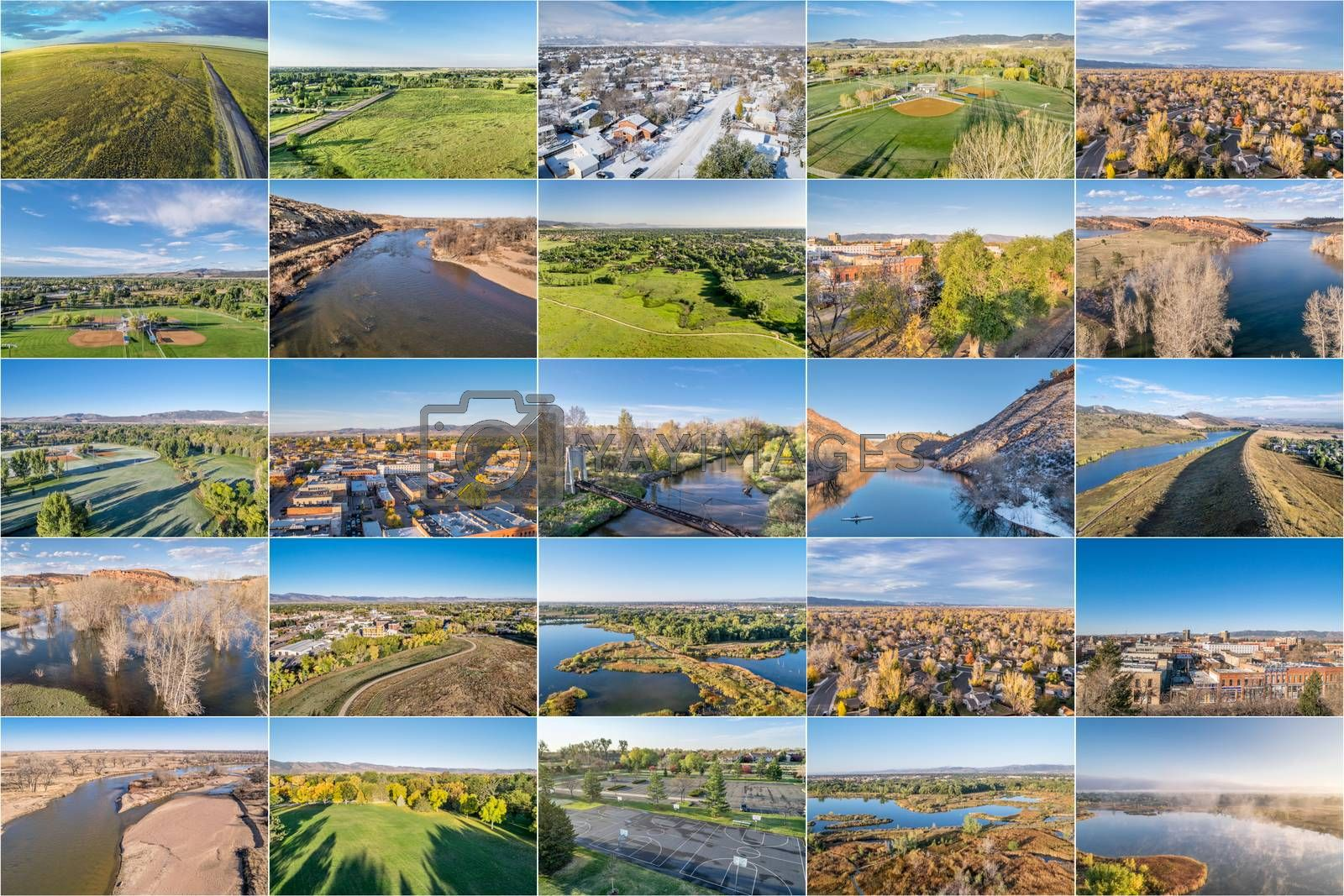 collection of aerial landscape pictures from Fort Collins and northern Colorado featuring city downtown, residential areas lakes and parks at different seasons