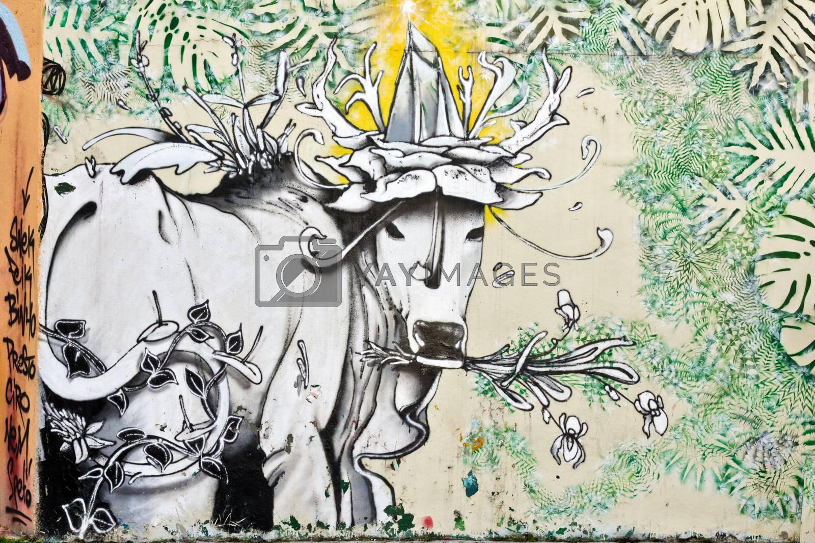 Sao Paulo, Brazil July 18, 2015: Graffiti detail of unidentified artist on the wall of the Batman alley in Sao Paulo Brazil.