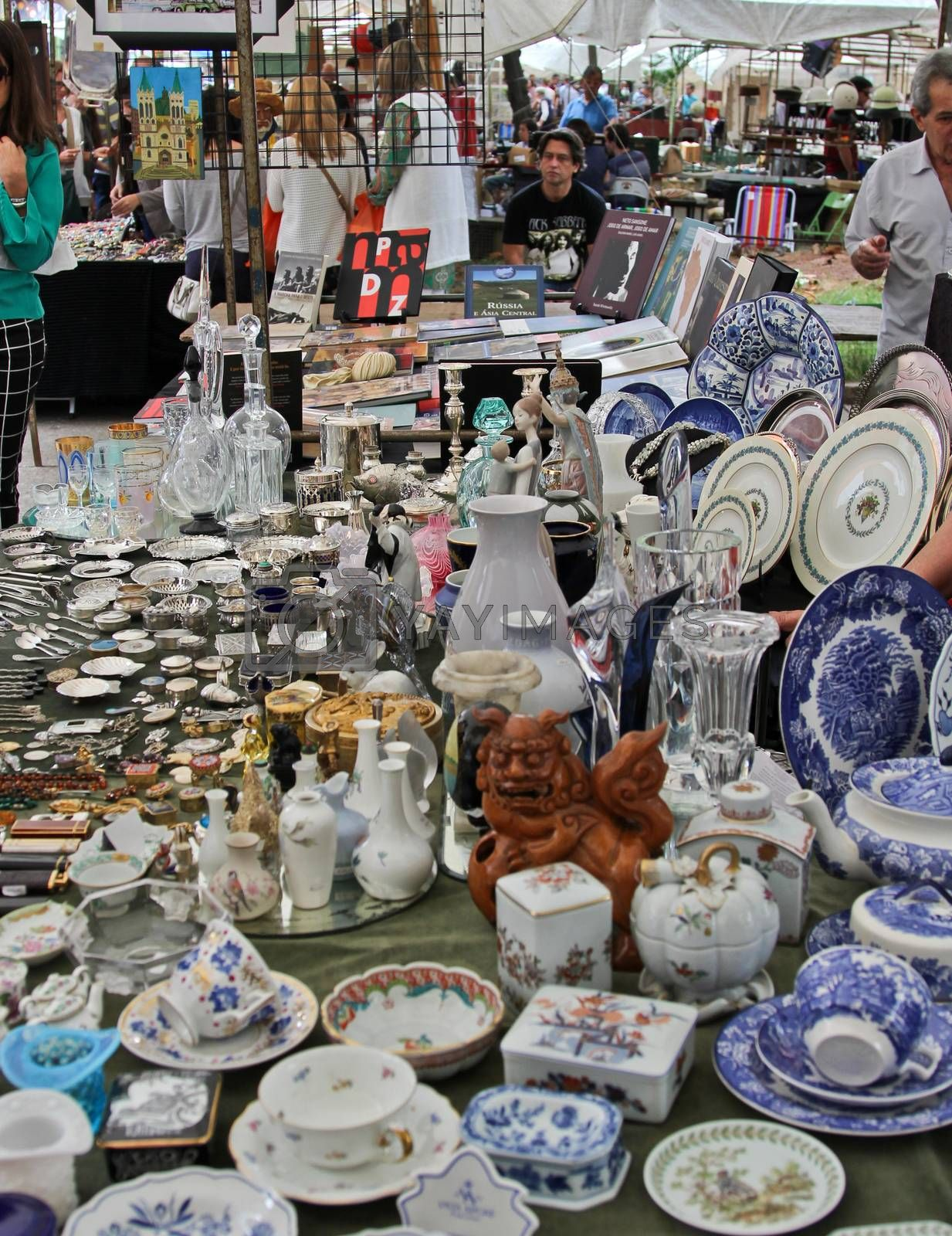 Sao Paulo, Brazil, July 18 2015: Detail of the traditional antique objects market that has been held all Mondays in Benedito Calixto square in Sao Paulo Brazil.