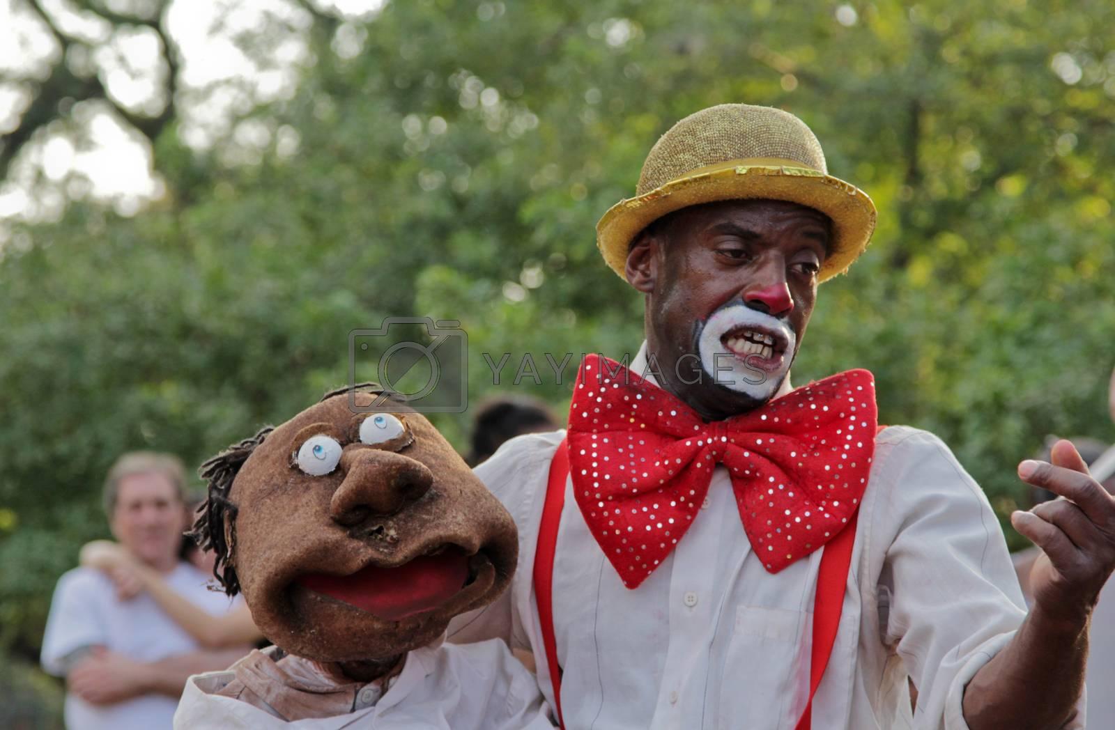 Sao Paulo, Brazil - July 18 2015: An unidentified Clown at Ibirapuera Park in Sao Paulo.