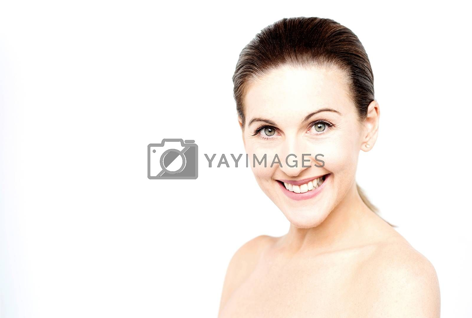 Closeup image  of woman with bare shoulders