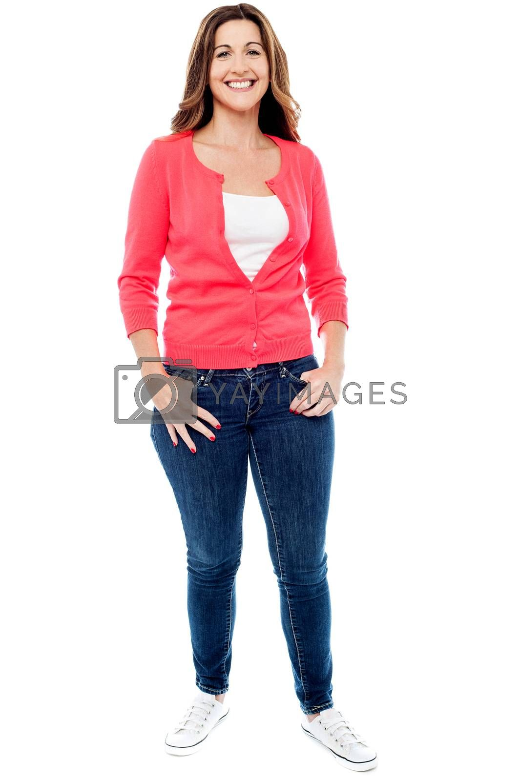 Full length image of a stylish middle aged woman
