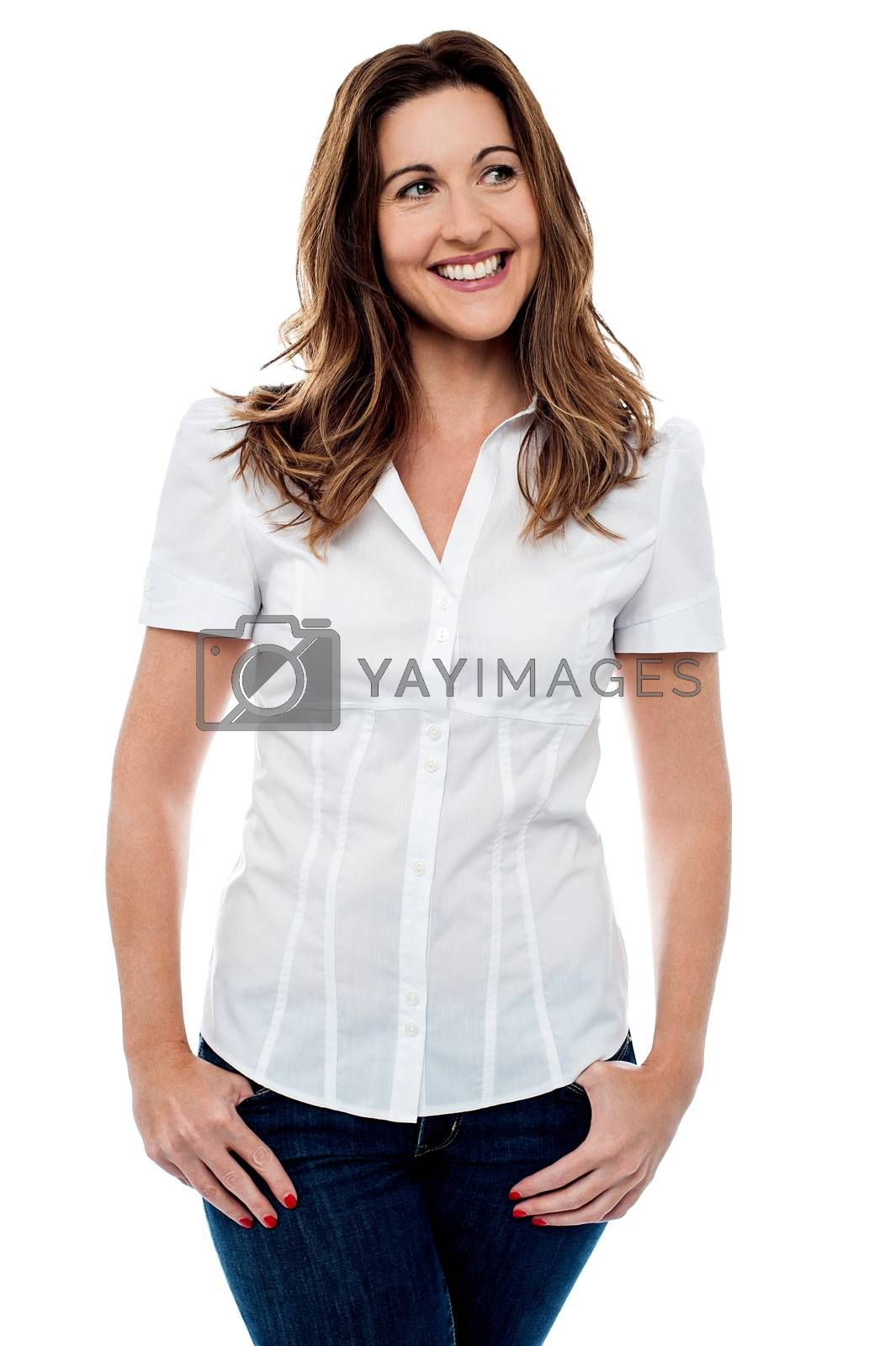 Charming smiling woman looking away