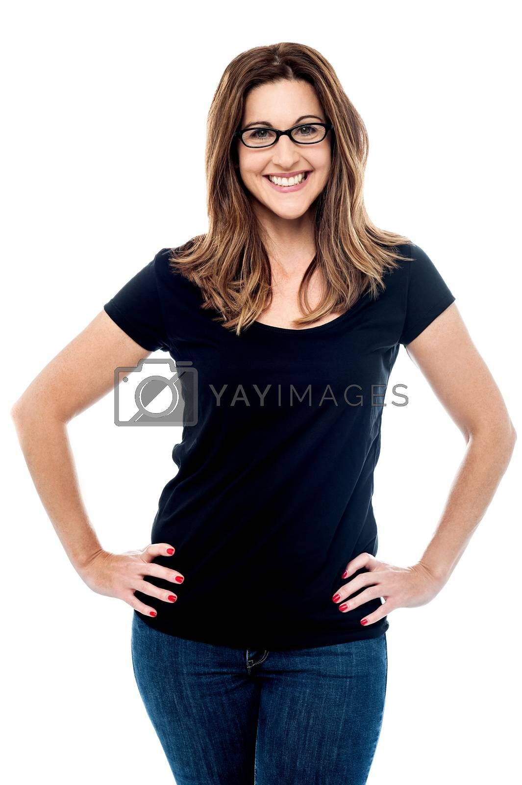 Happy middle aged woman posing style in casuals