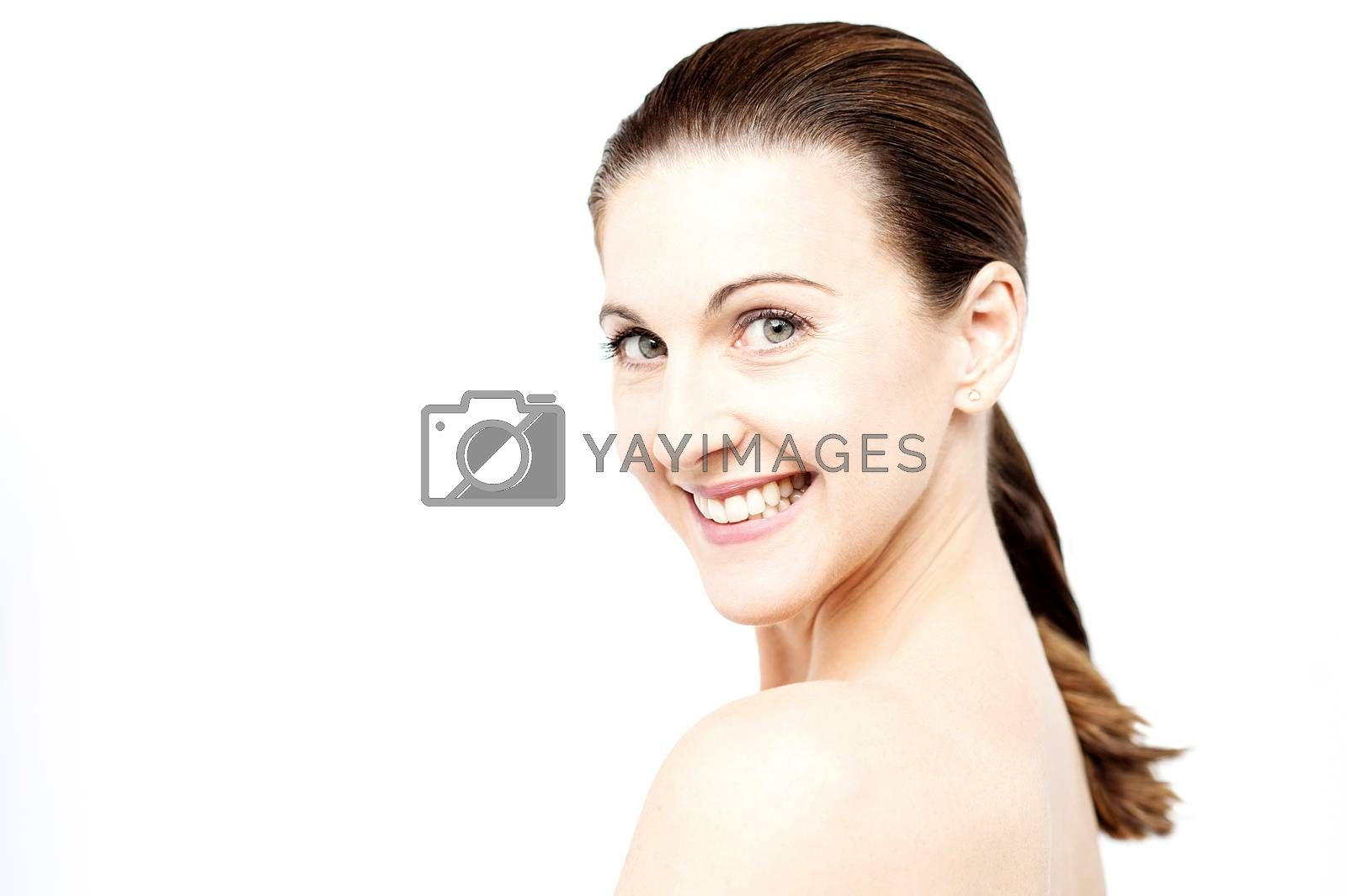 Clsoe up middle aged woman with bare shoulder