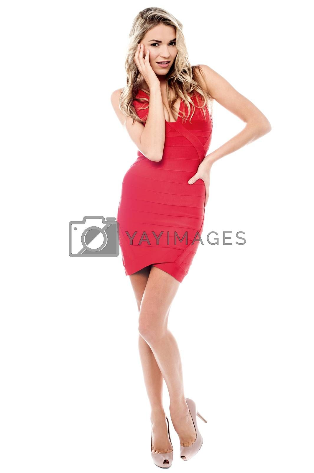 Beautiful stylish woman in red party wear