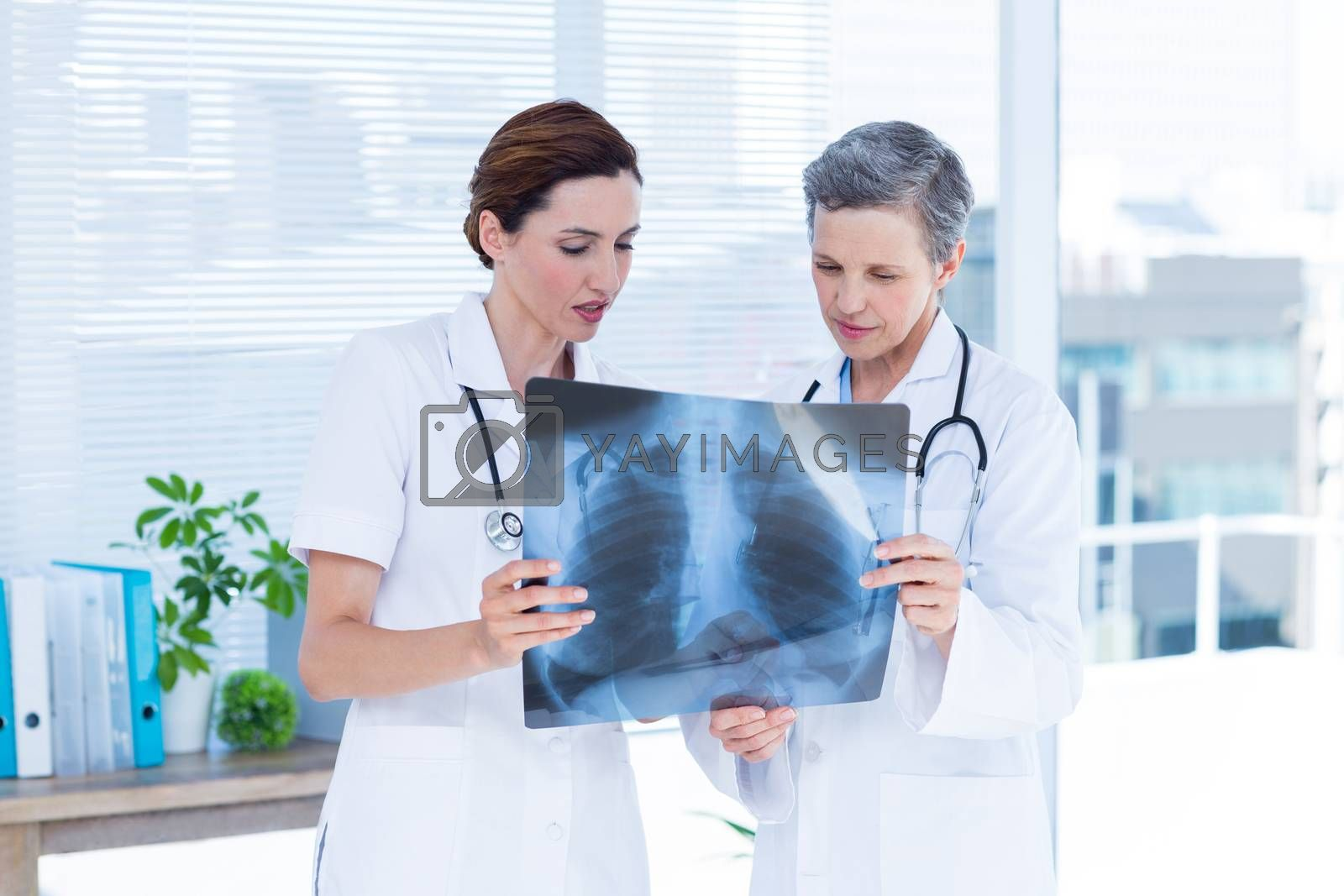 Royalty free image of Concentrated medical colleagues examining x-ray together by Wavebreakmedia