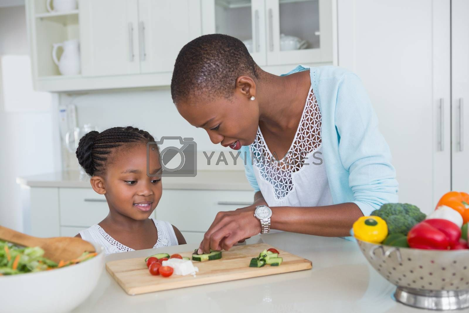 Royalty free image of Portrait mother and daughter making a salad together by Wavebreakmedia