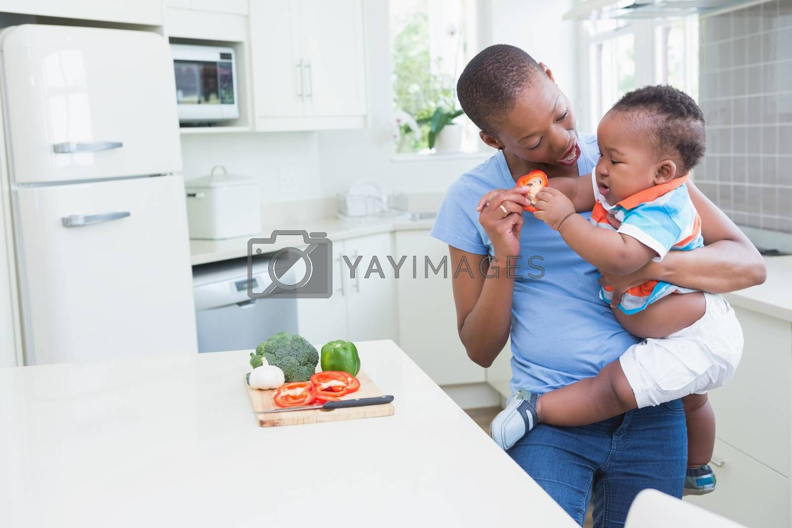 Royalty free image of Happy smiling mother with his babyboy  by Wavebreakmedia