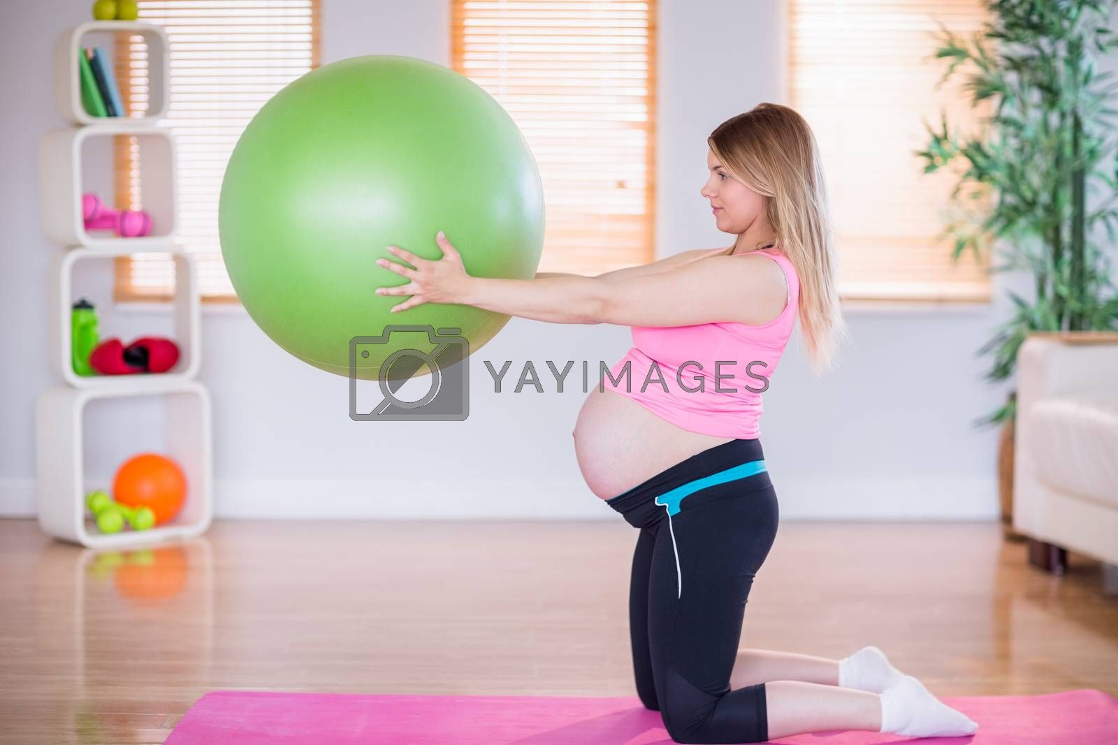 Royalty free image of Pregnant woman holding exercise ball by Wavebreakmedia
