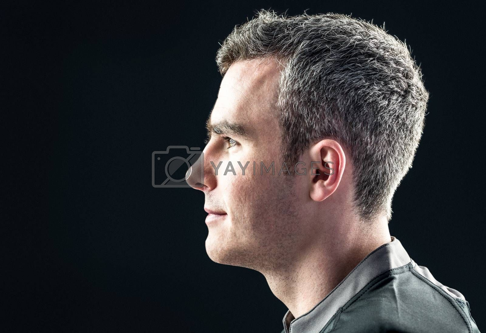 Royalty free image of Rugby player on a profile view by Wavebreakmedia