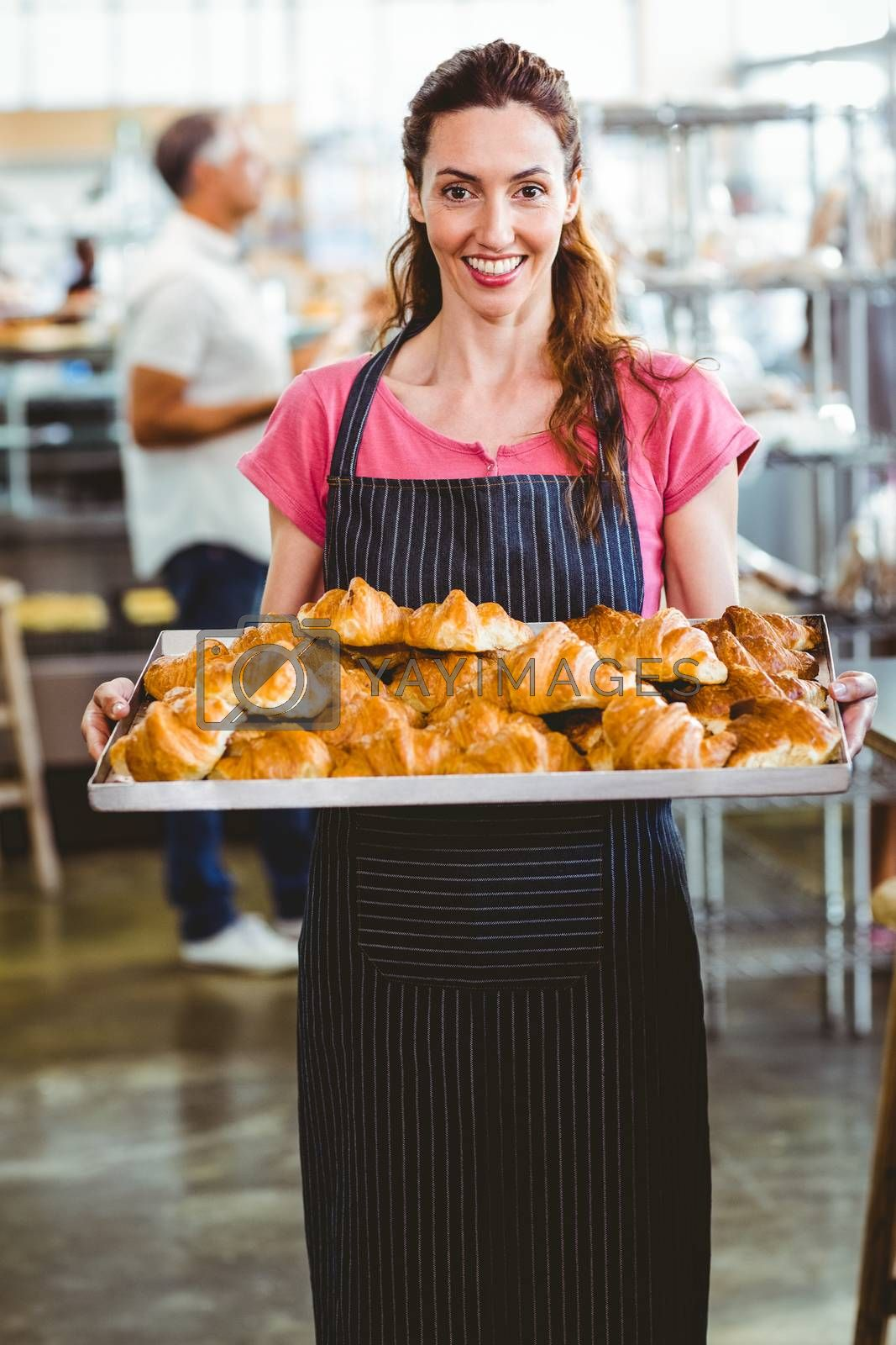 Royalty free image of Baker showing tray of fresh croissant by Wavebreakmedia
