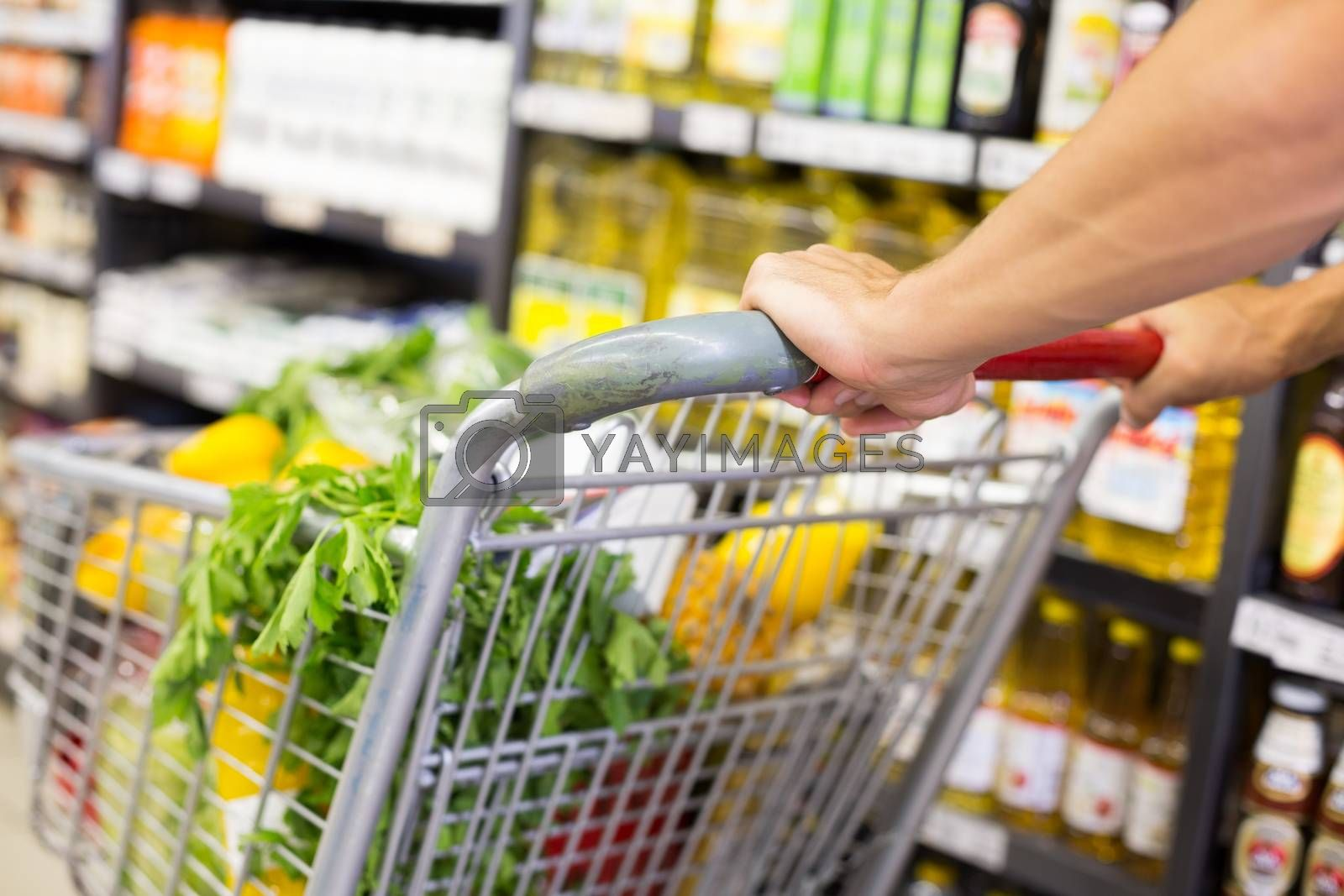 Royalty free image of Man pushing his trolley on aisle  by Wavebreakmedia