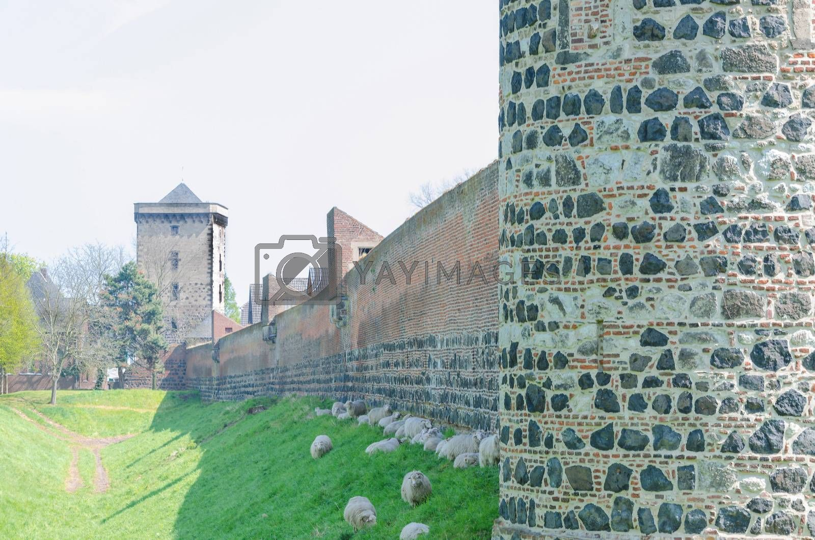 Royalty free image of Medieval wall with sharp by JFsPic