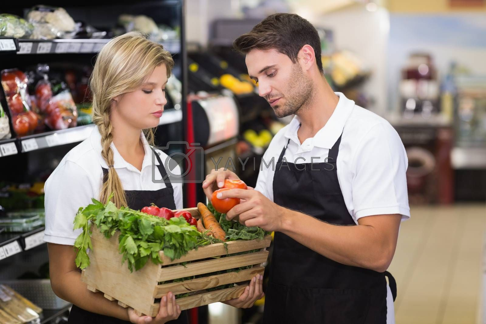 Royalty free image of Two colleagues holding a box with fresh vegetables  by Wavebreakmedia