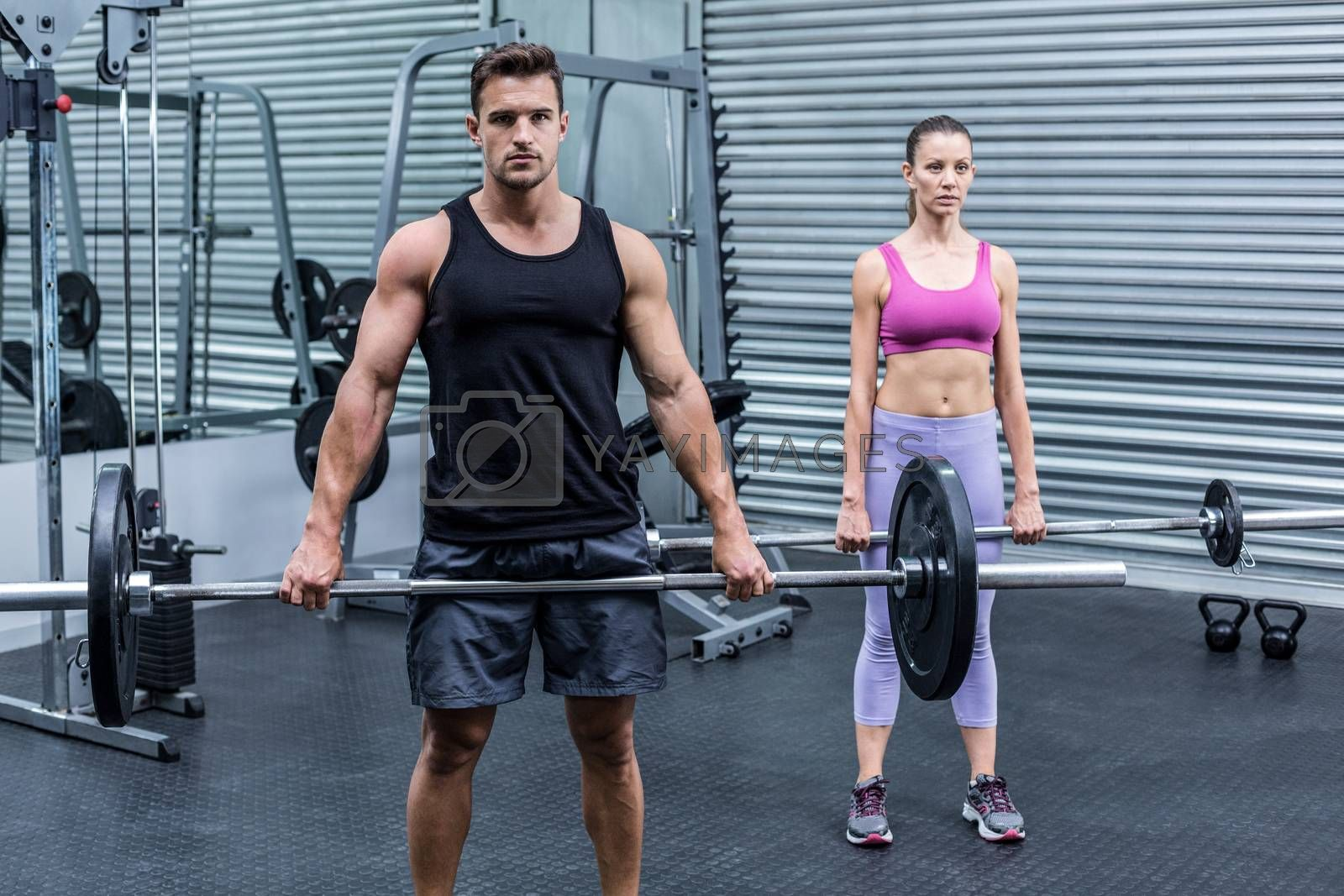 Muscular couple lifting weight together at the crossfit gym
