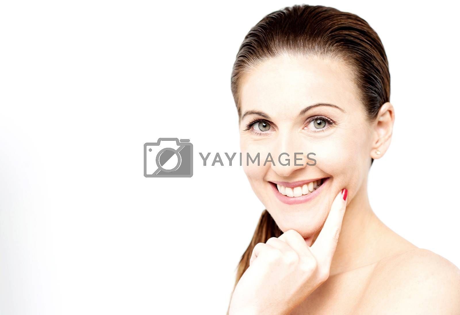Smiling pretty lady isolated over white