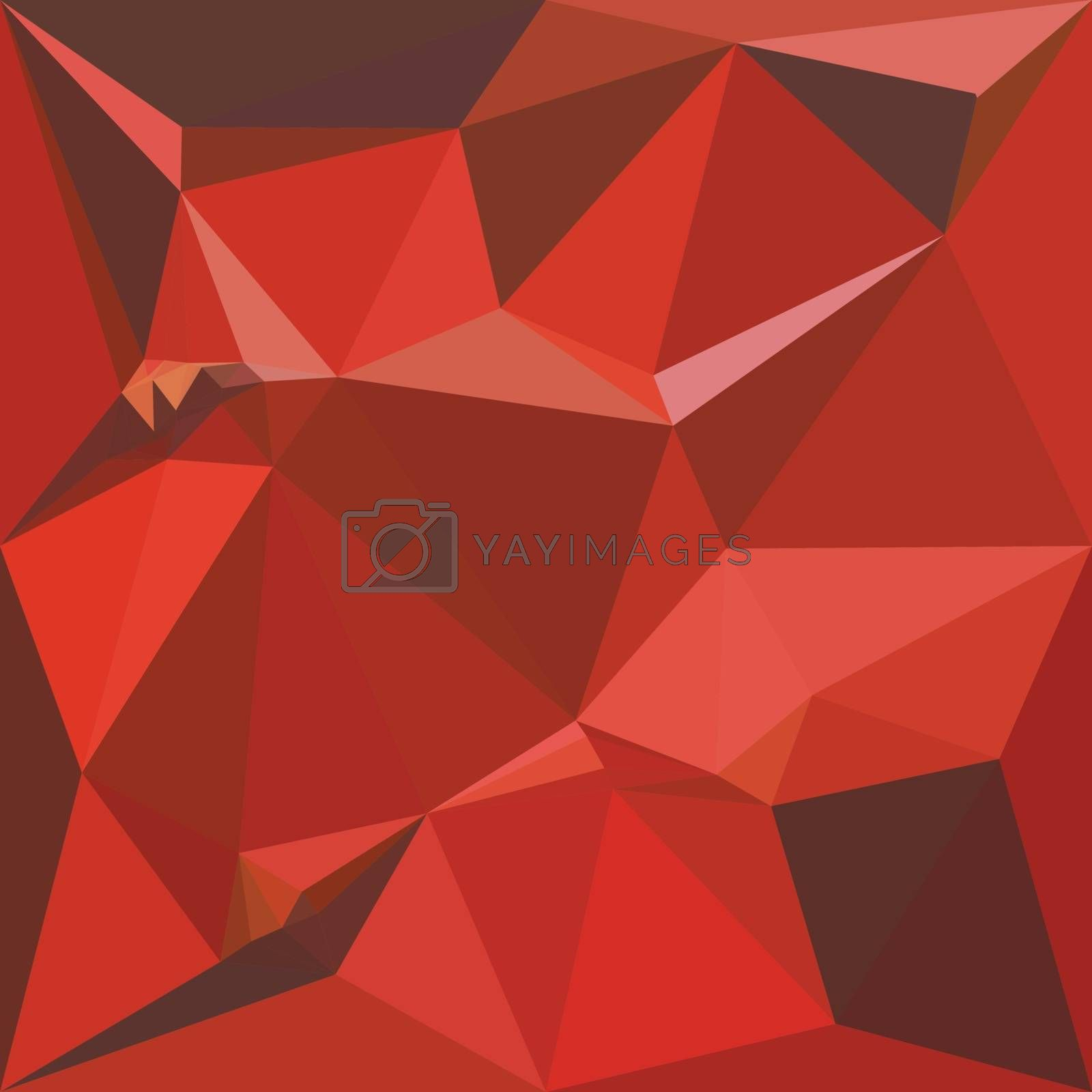 Low polygon style illustration of auburn red abstract geometric background.