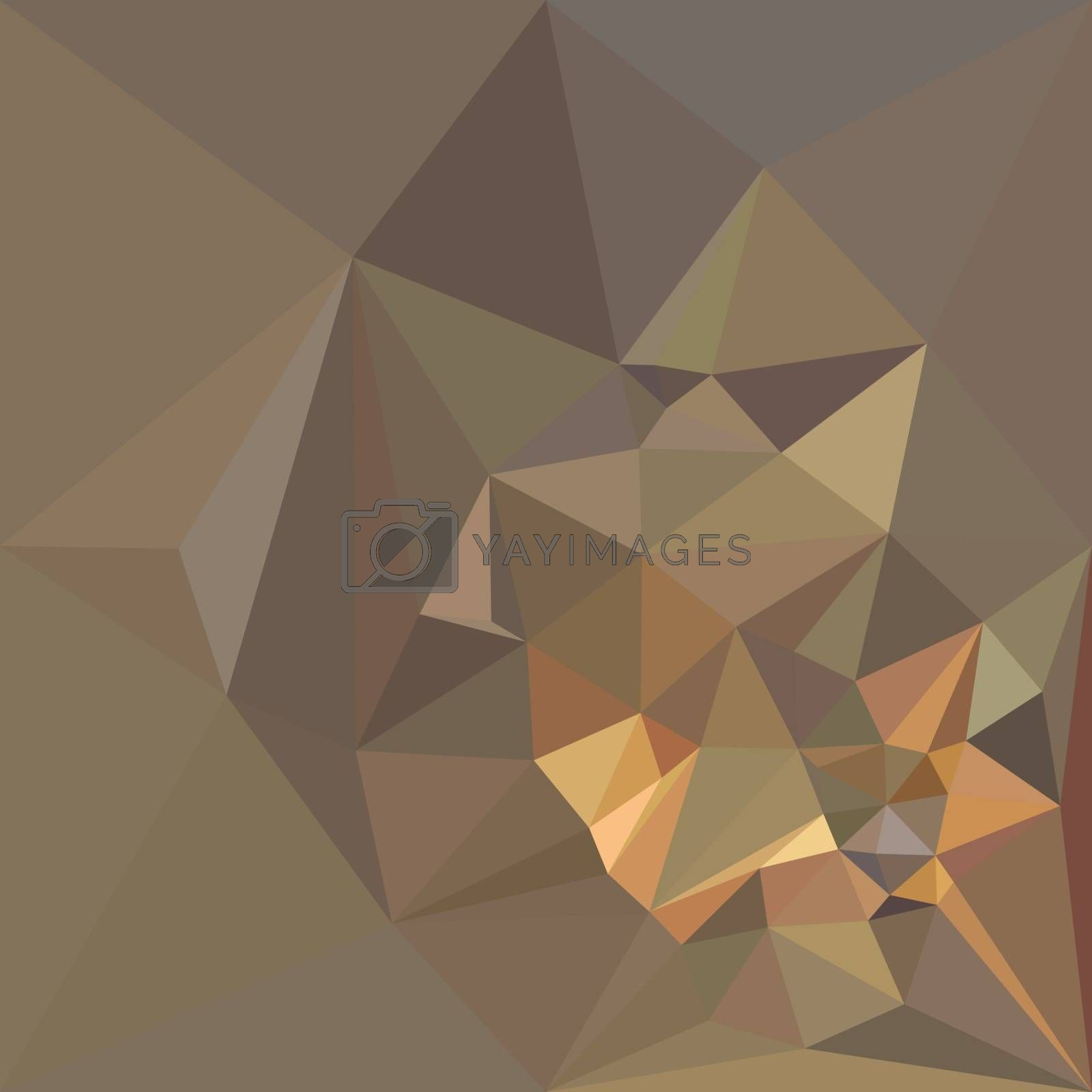 Low polygon style illustration of a dark tan brown abstract geometric background.