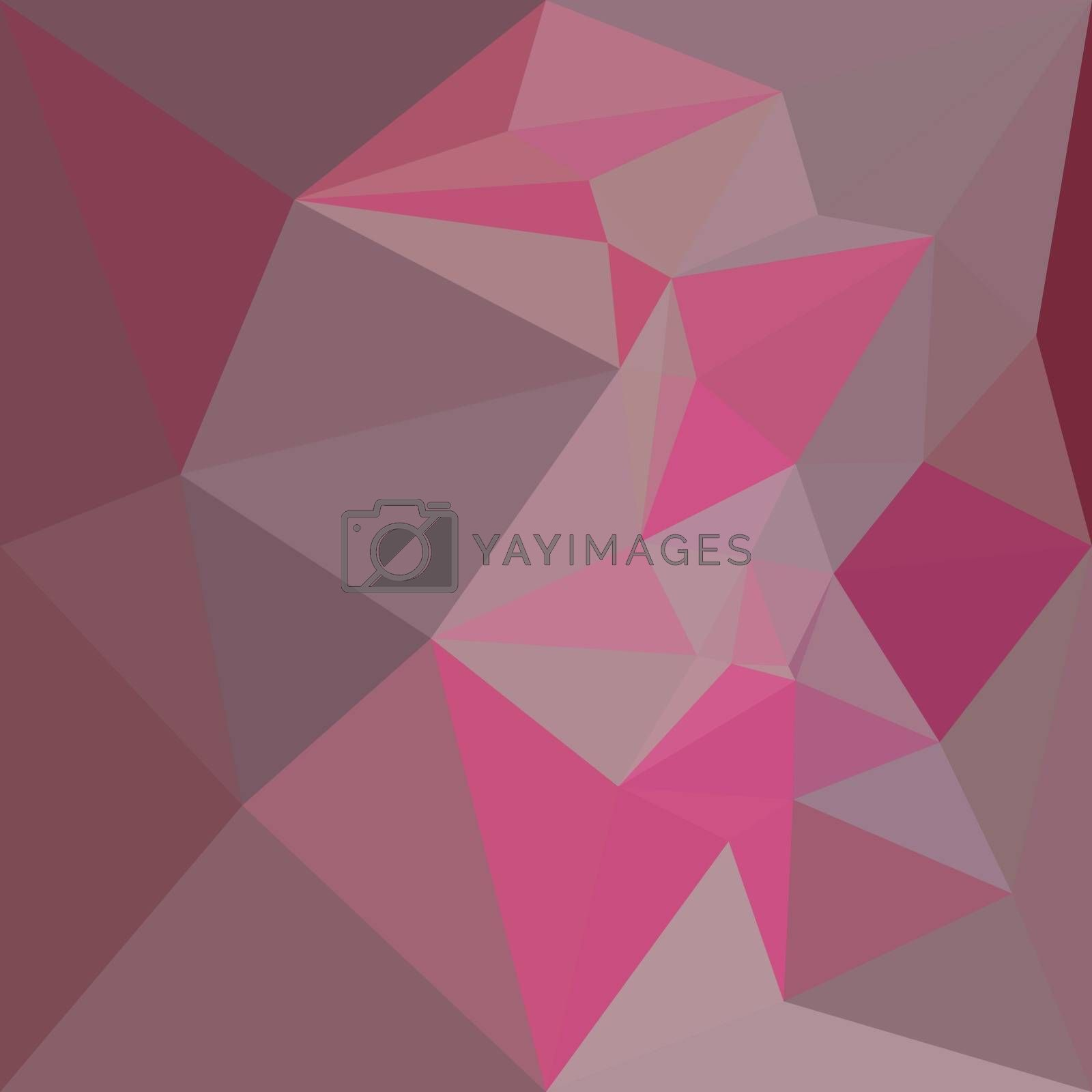 Low polygon style illustration of a fandango pink abstract geometric background.