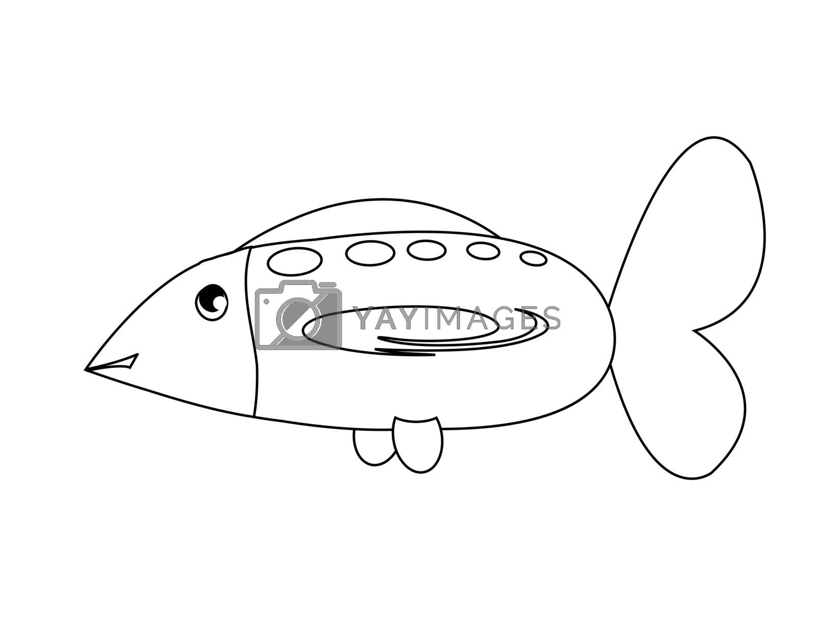 coloring with big abstract fish on the white background
