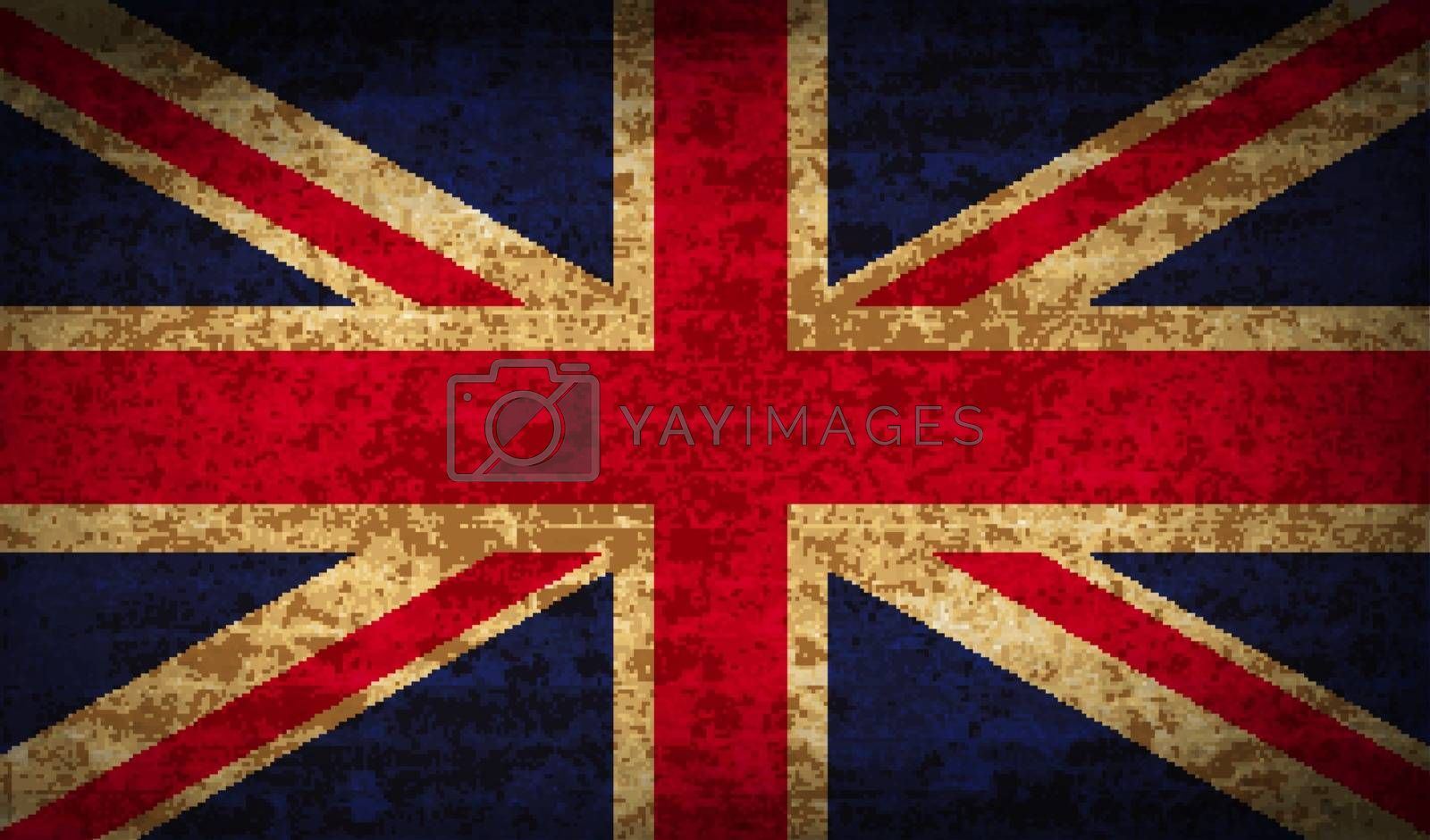 Flags of United Kingdom with dirty paper texture. Vector illustration