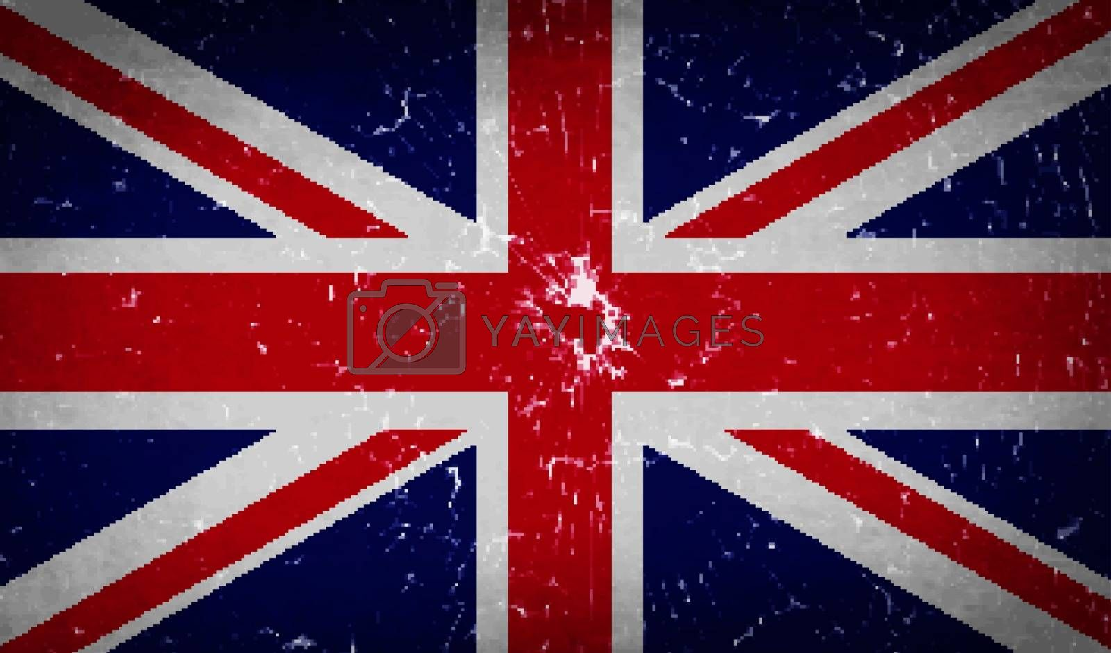 Flags of United Kingdom with broken glass texture. Vector illustration