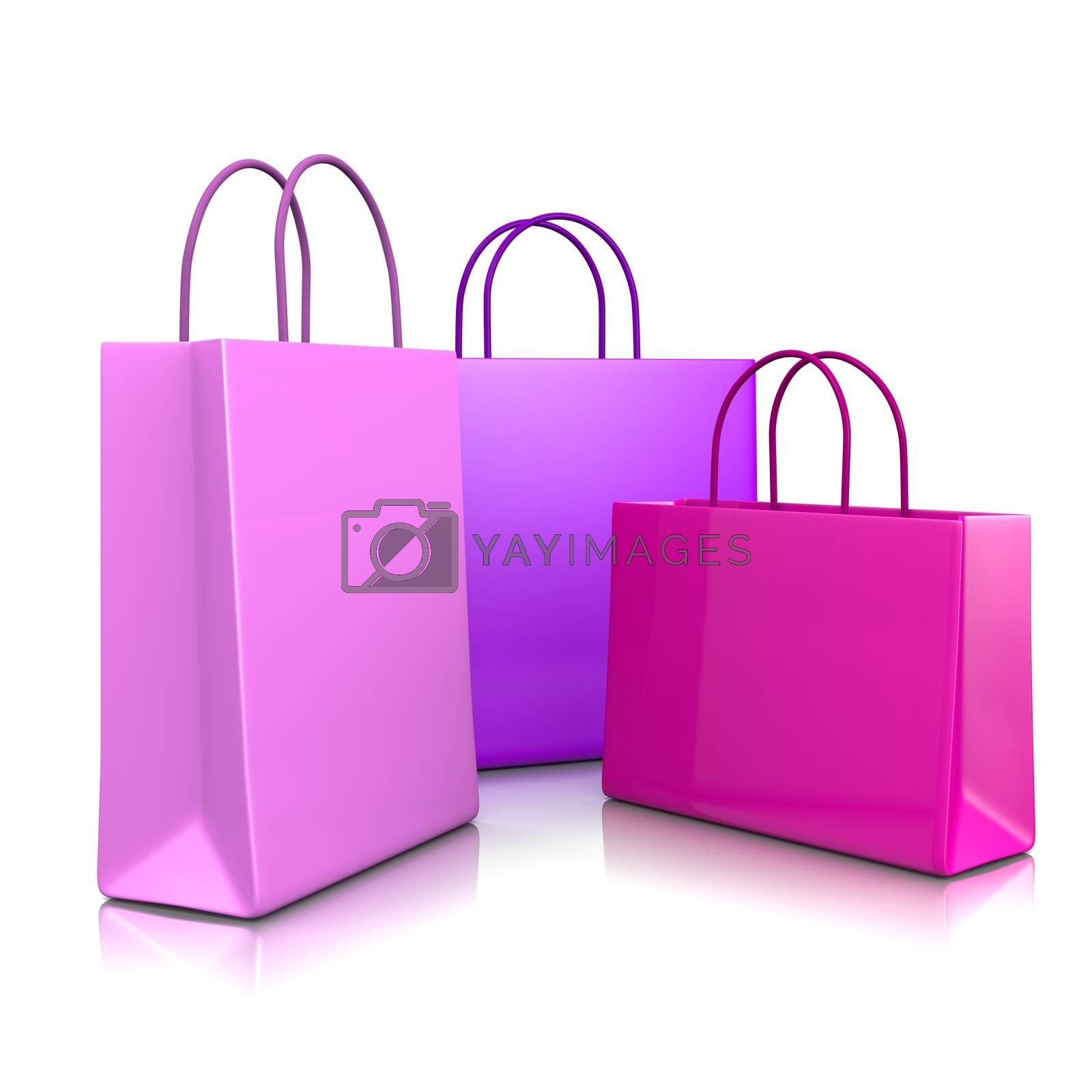Pink and Violet Fashion Color Shopping Bags Isolated on White Background 3D Illustration