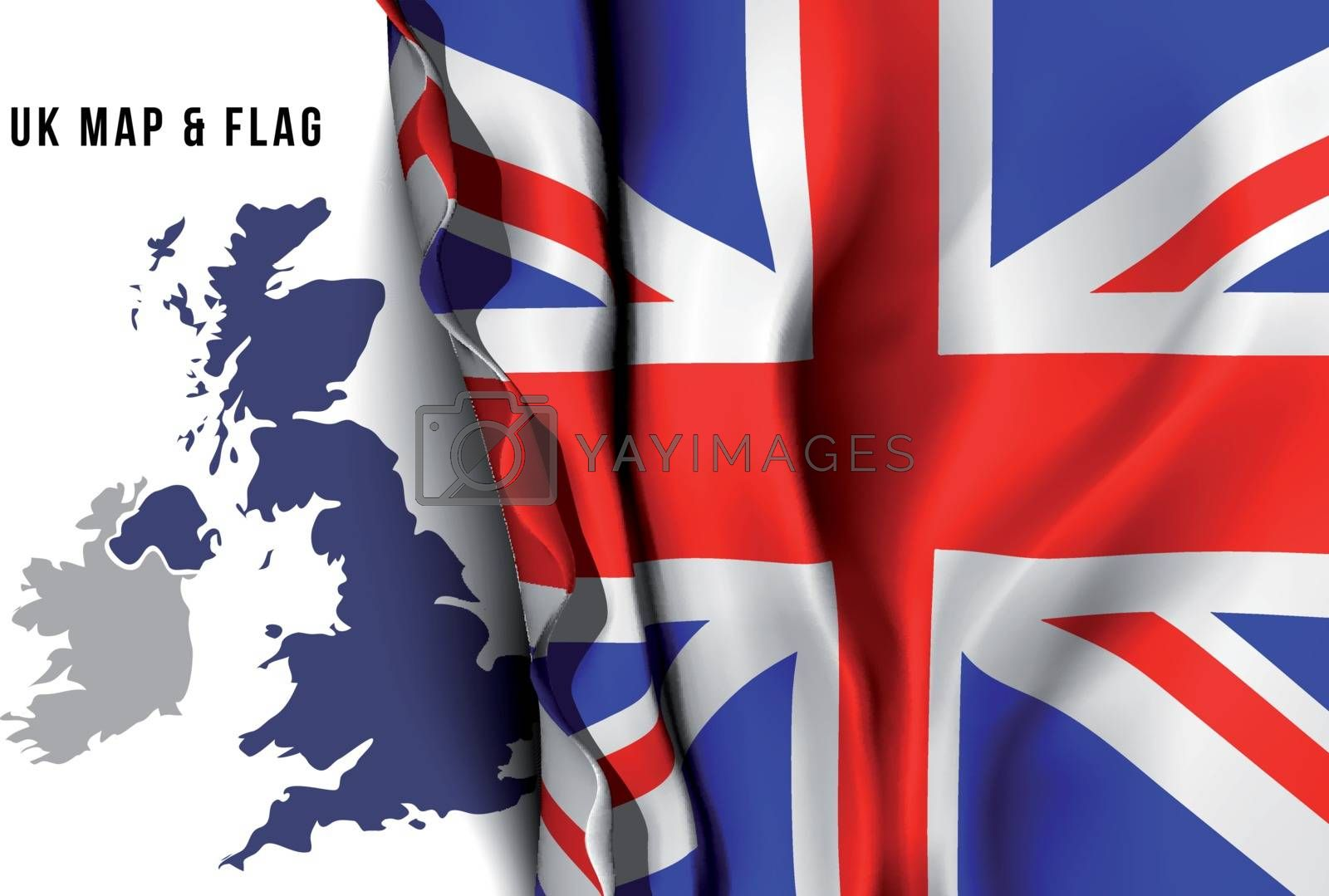 United Kingdom map and flag. Vector illustration
