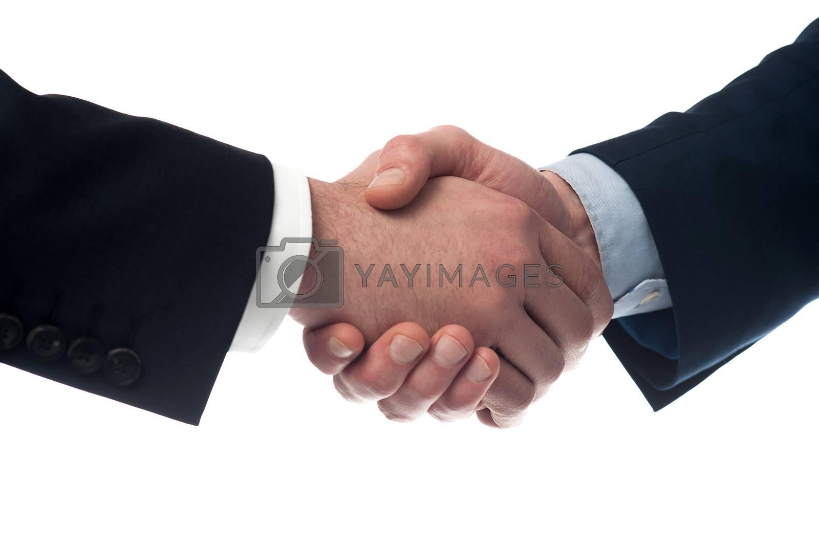 Close up image of businessmen handshake