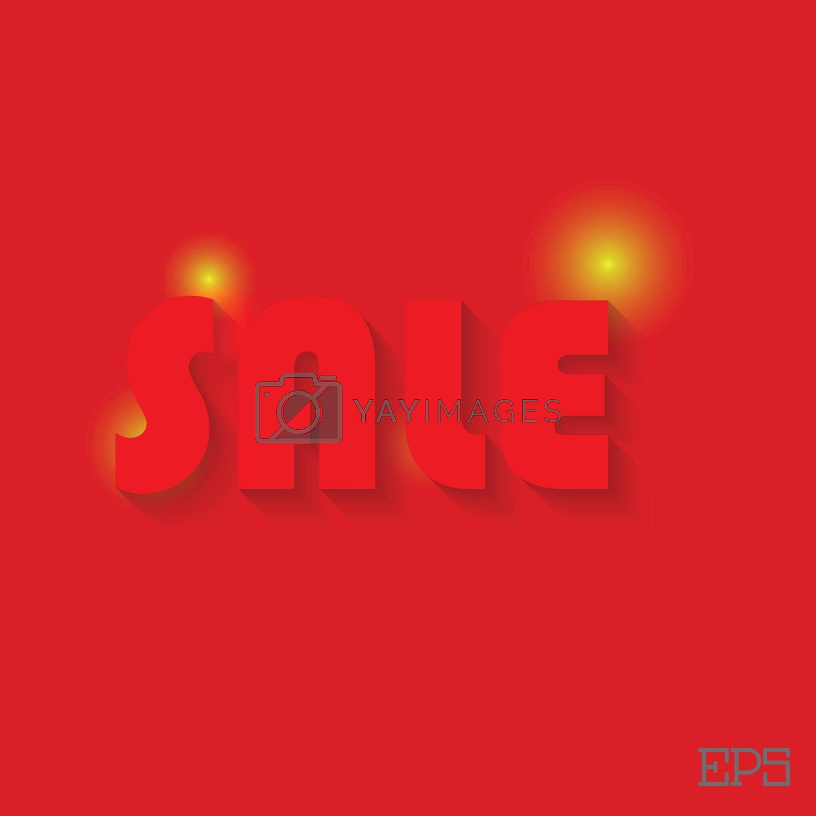 The inscription SALE on a red background paper. Vector illustration