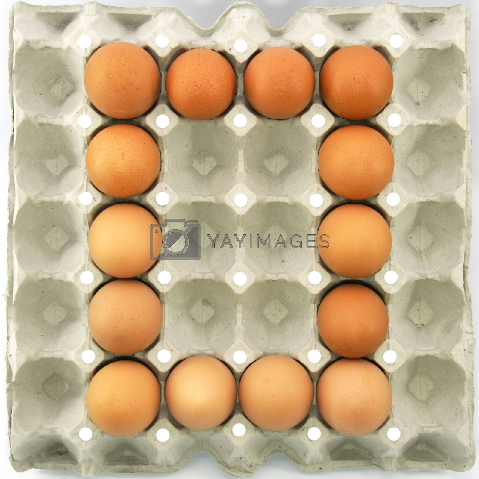 Number zero of eggs in the paper package tray