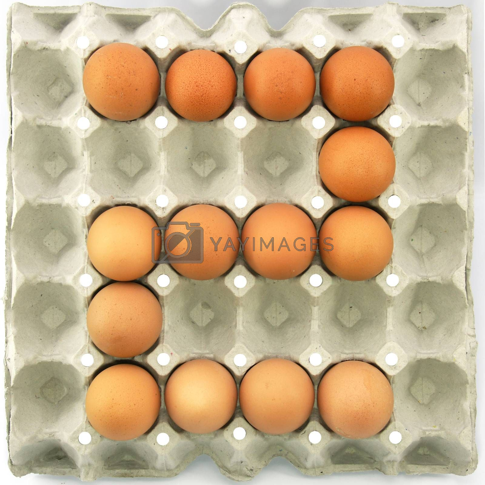 Number two of eggs in the paper package tray