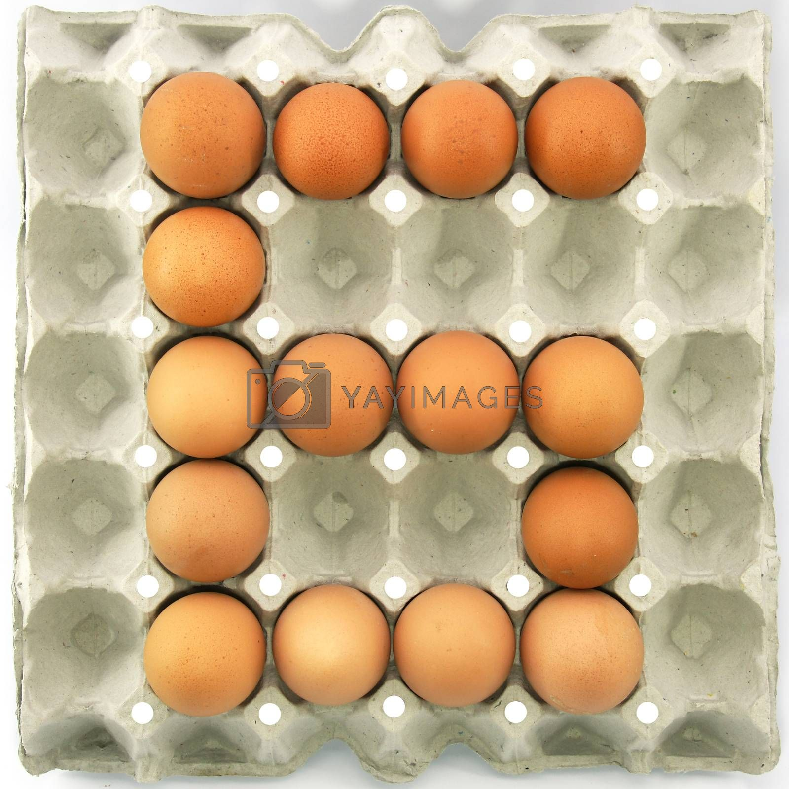 Number six of eggs in the paper package tray